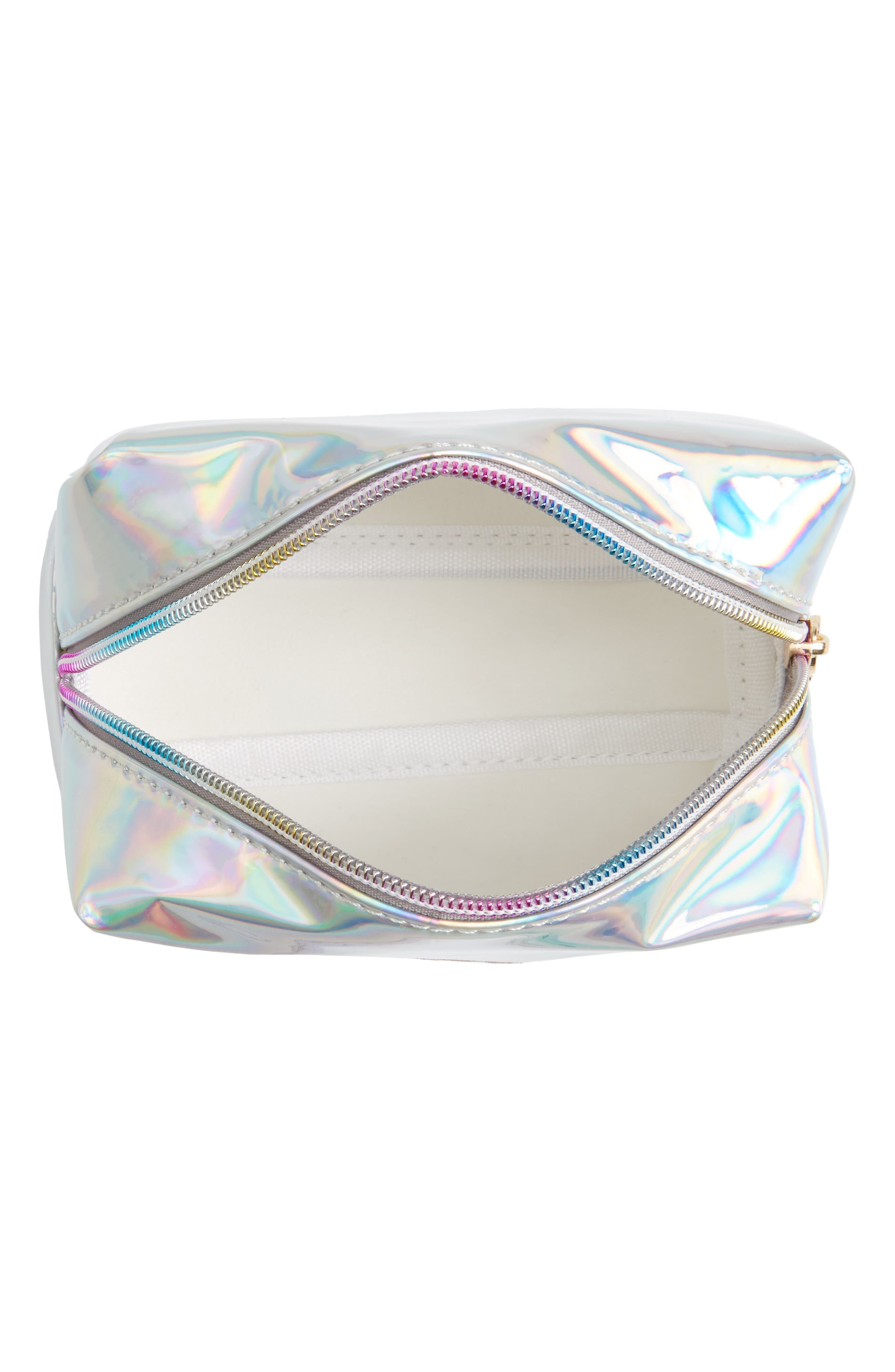 Glitter Eye Iridescent Cosmetics Bag,                             Alternate thumbnail 2, color,                             Silver