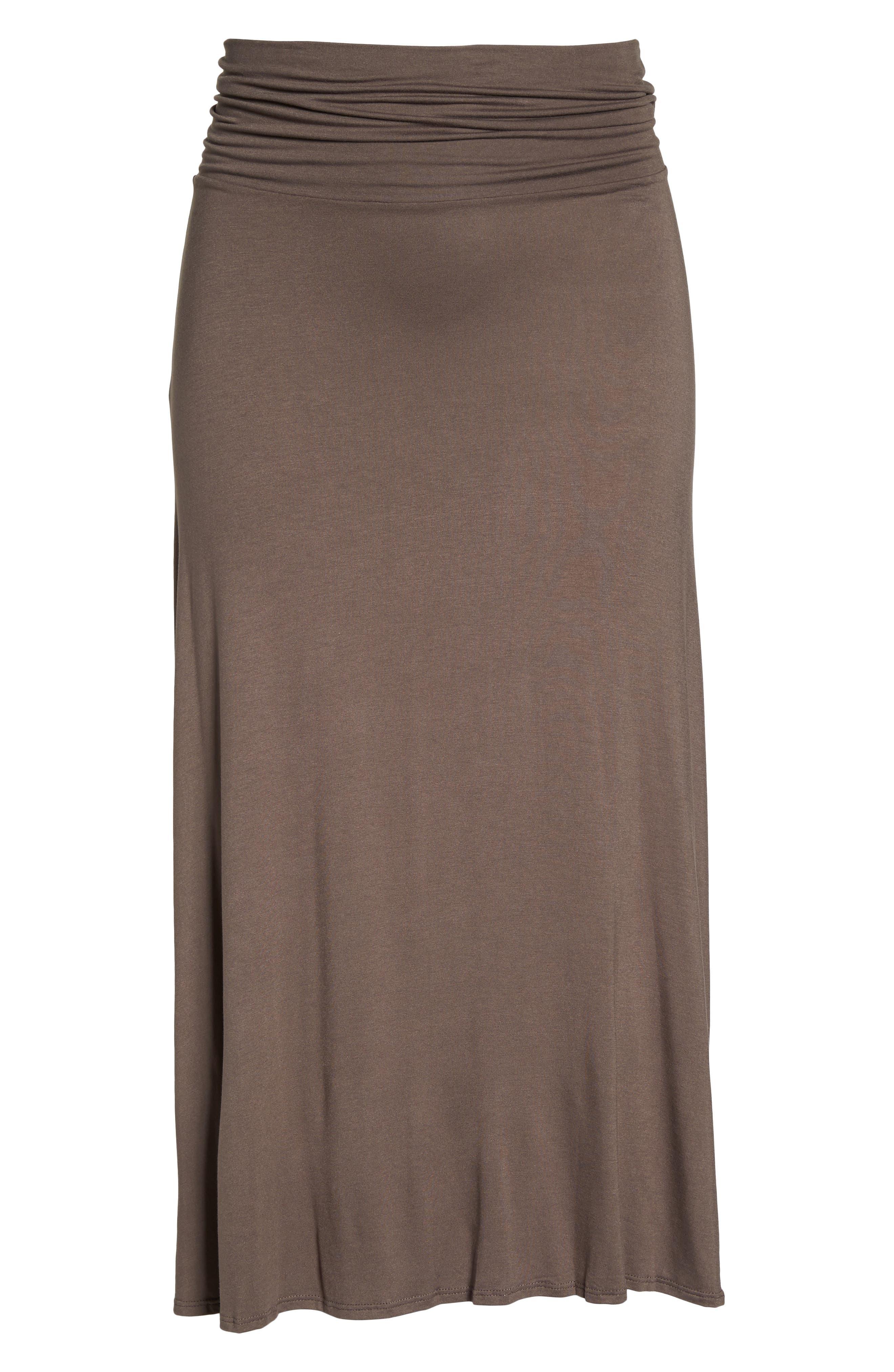 Foldover Knit Skirt,                             Alternate thumbnail 6, color,                             Mocha