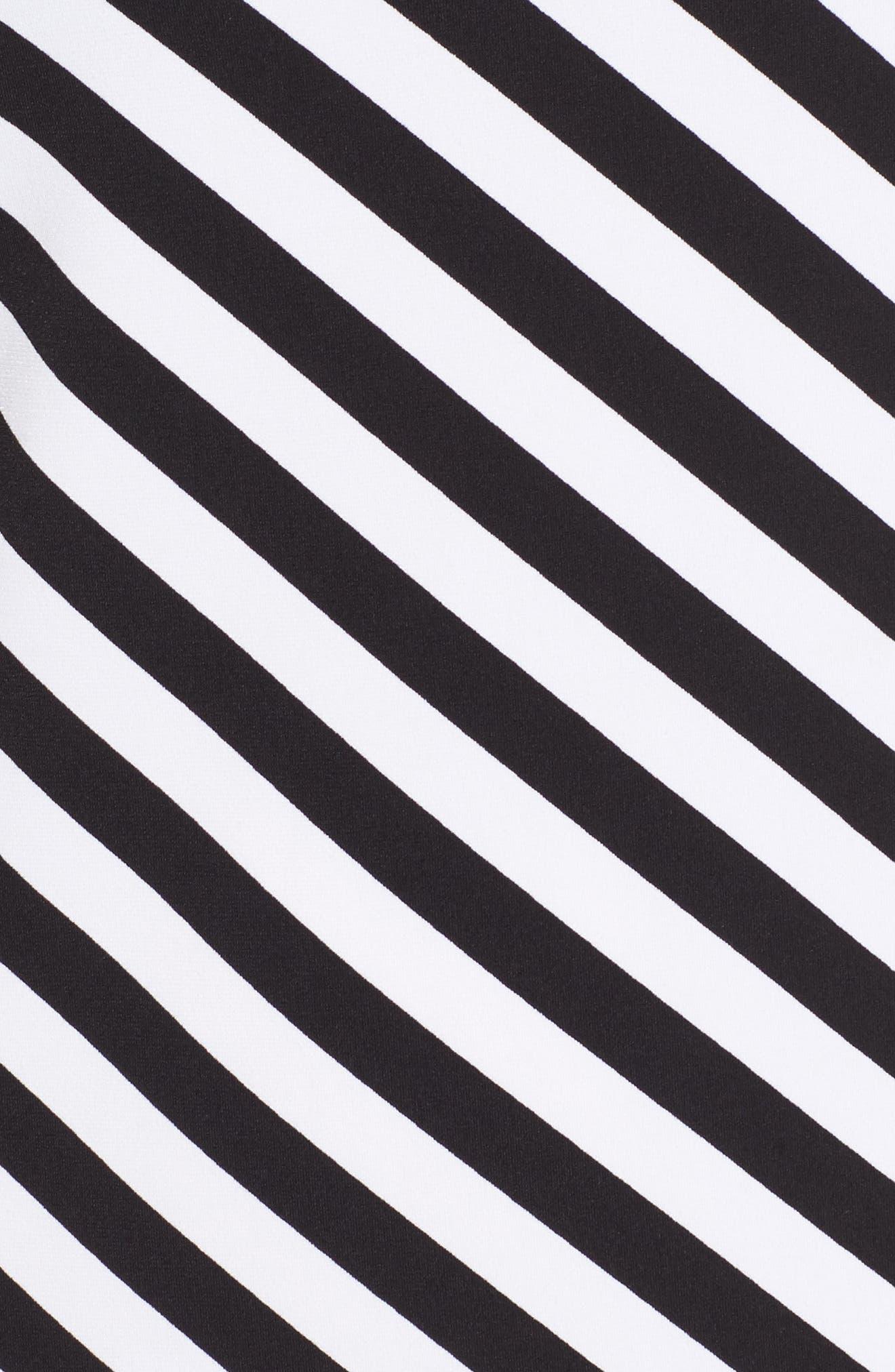 Tulip Sleeve Stripe Dress,                             Alternate thumbnail 5, color,                             Black/ White