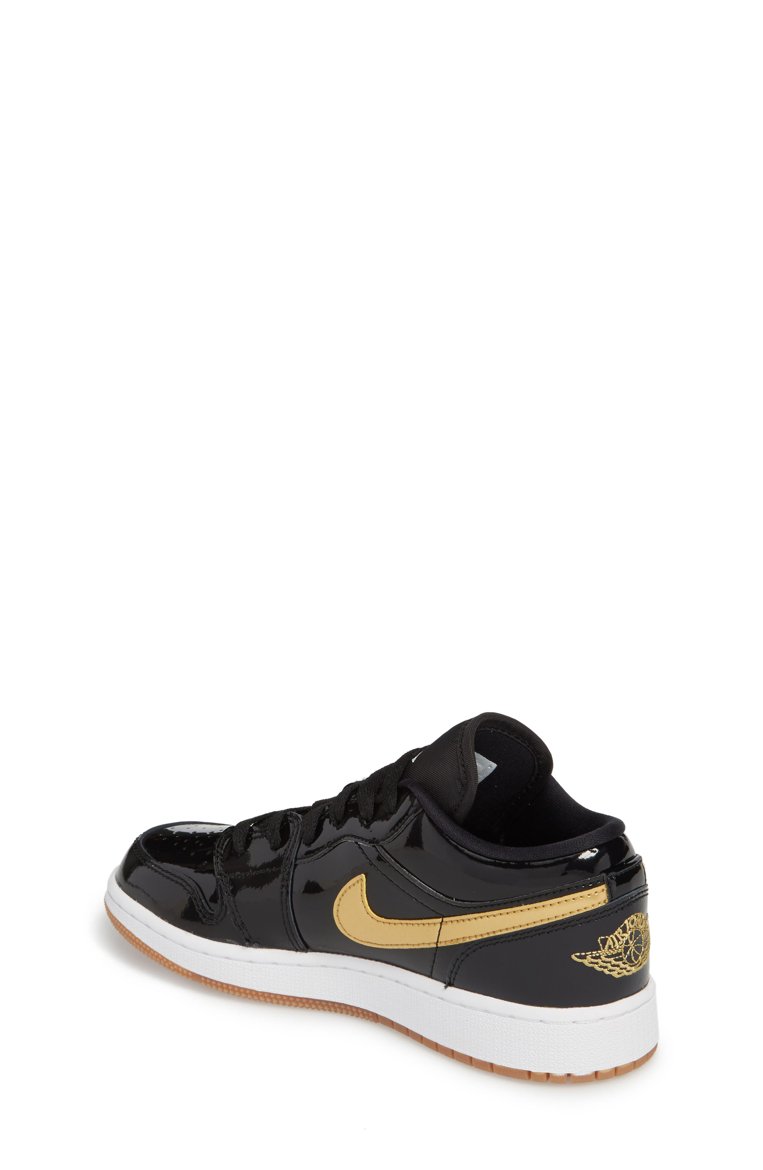 Nike 'Jordan 1 Low' Basketball Shoe,                             Alternate thumbnail 2, color,                             Black/ Metallic Gold/ White