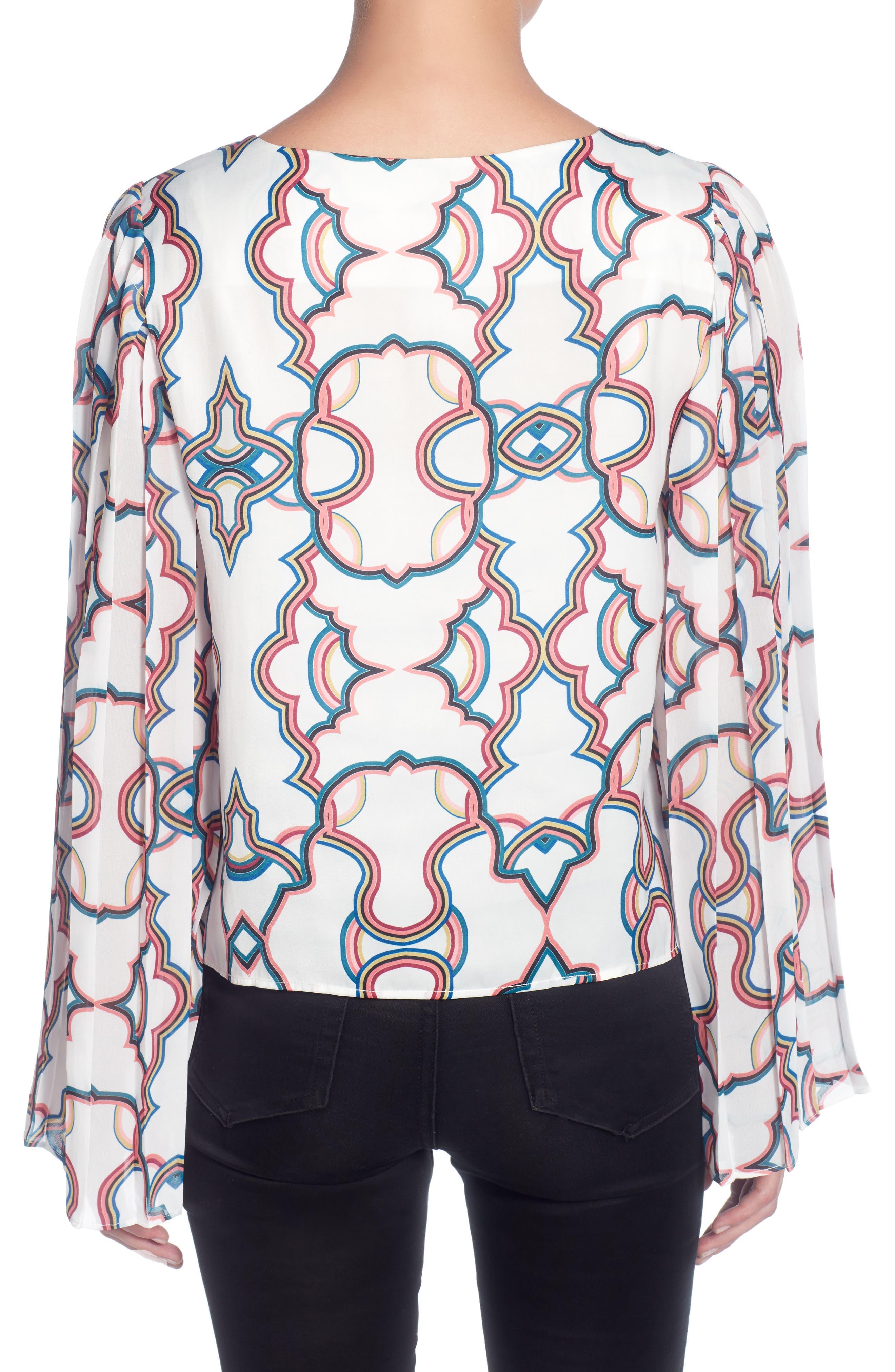 Deni Pleated Sleeve Top,                             Alternate thumbnail 2, color,                             Kaleidoscope White