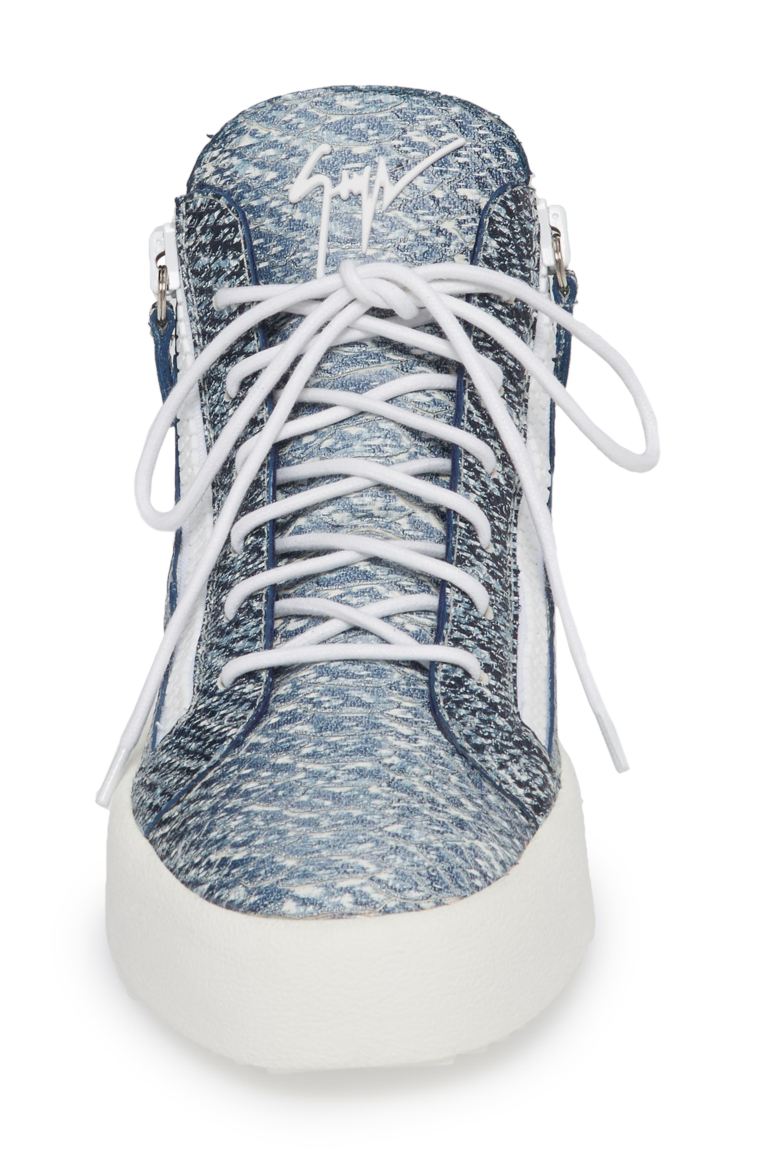 Snake Embossed Sneaker,                             Alternate thumbnail 4, color,                             Denim Blue Snake