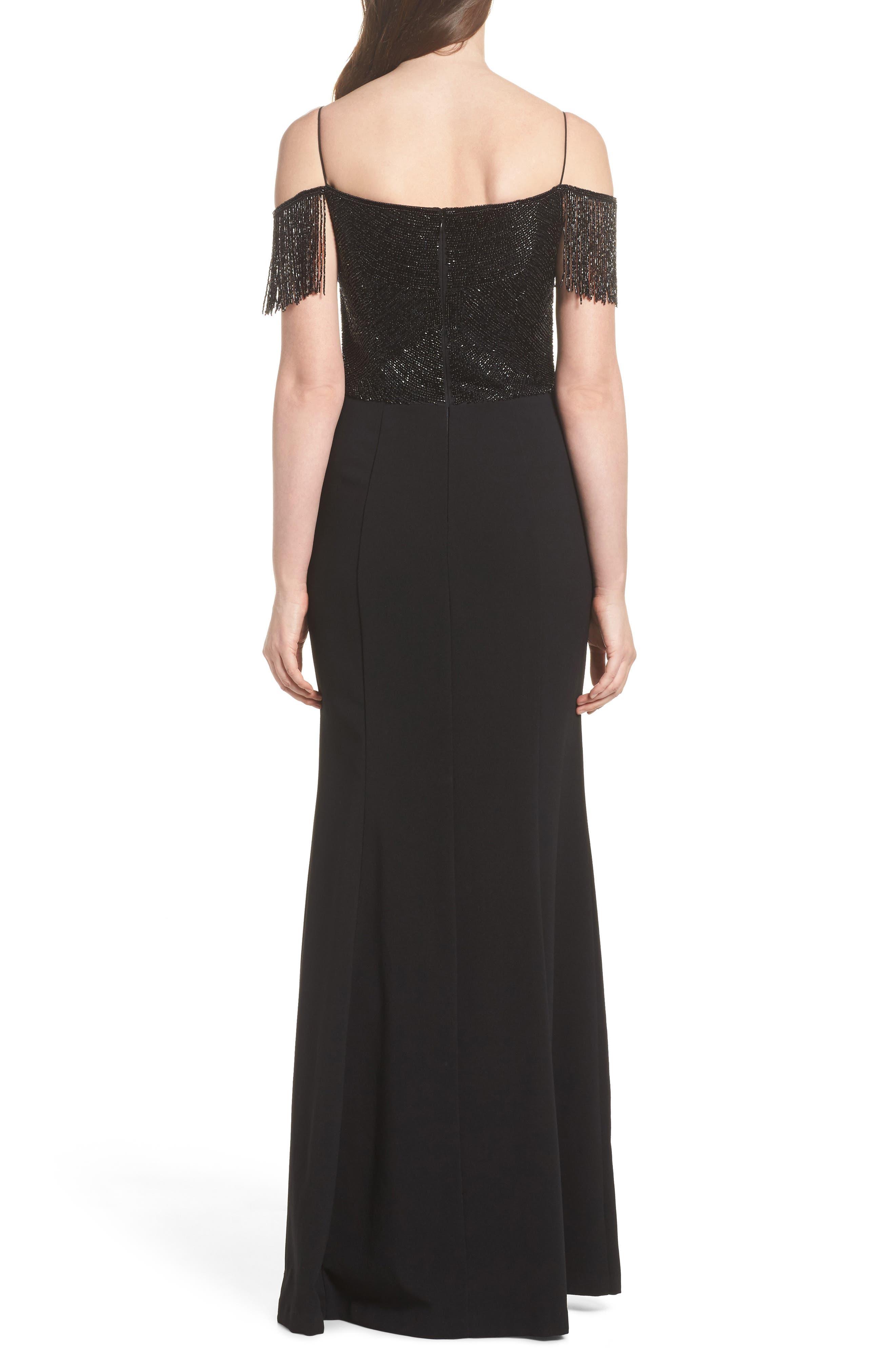 Fringe Cold Shoulder Crepe Gown,                             Alternate thumbnail 2, color,                             Black