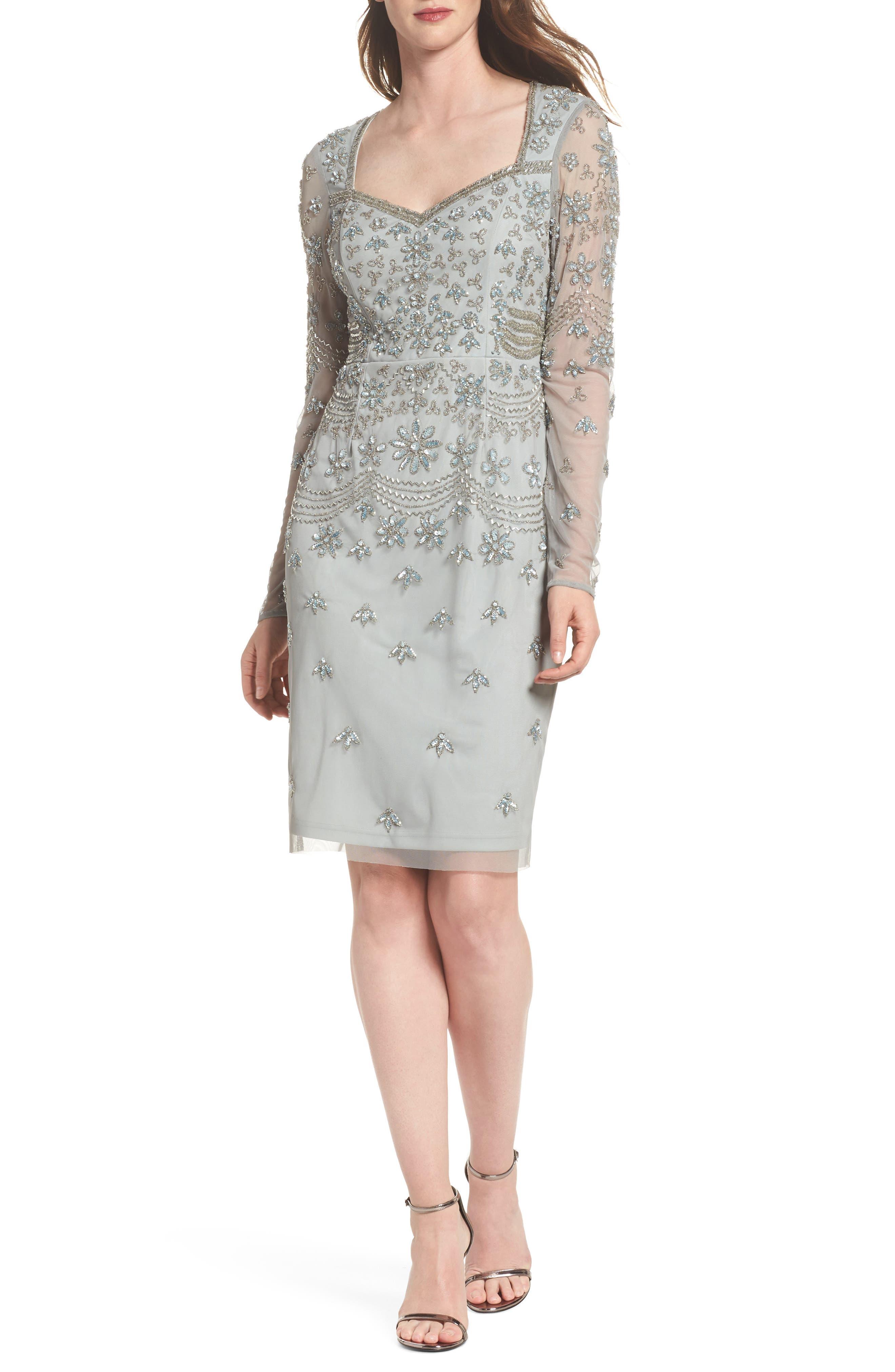 Beaded Mesh Sheath Dress,                         Main,                         color, Blue Mist