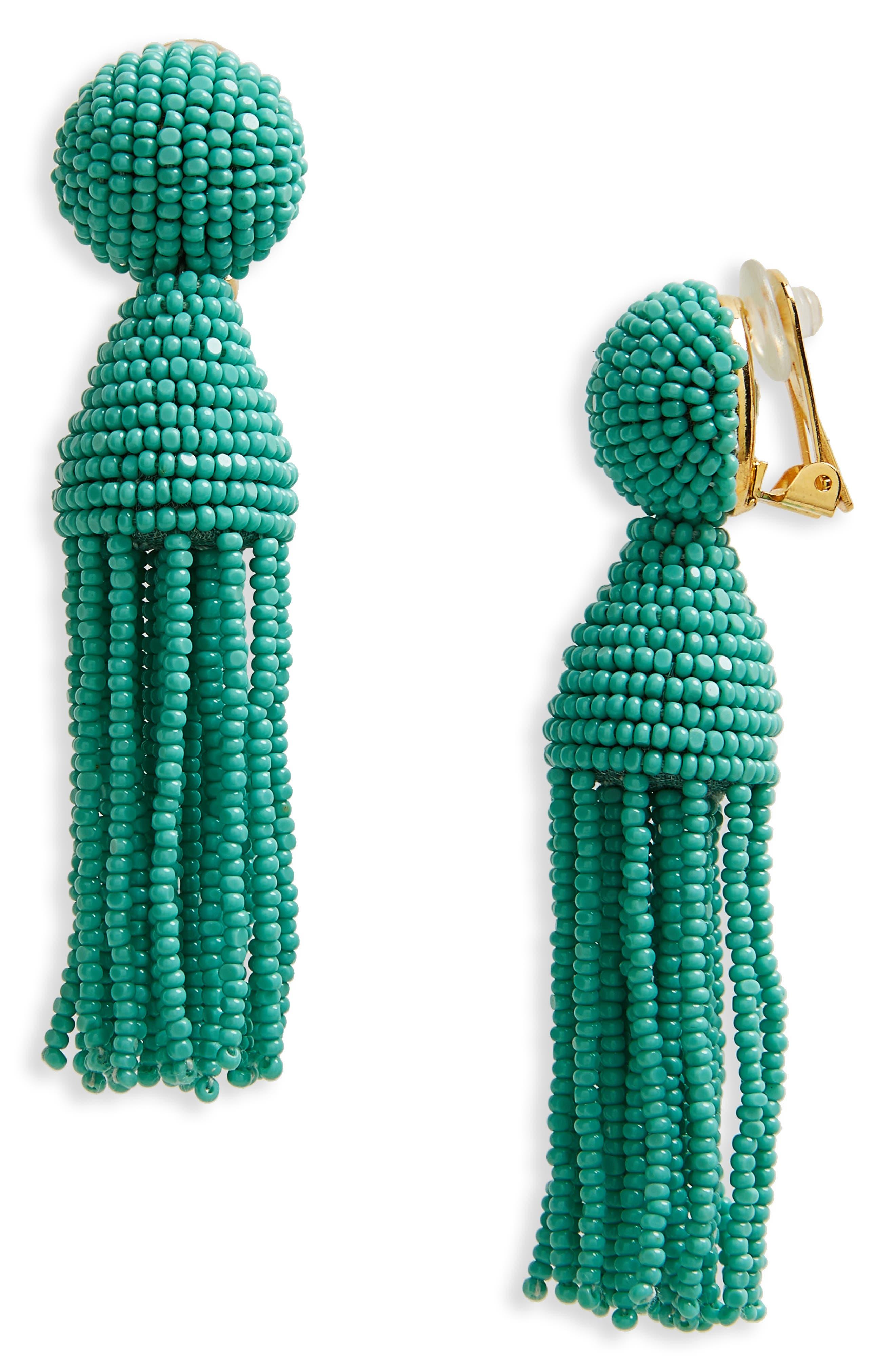 Beaded Tassel Drop Earring,                         Main,                         color, Aqua