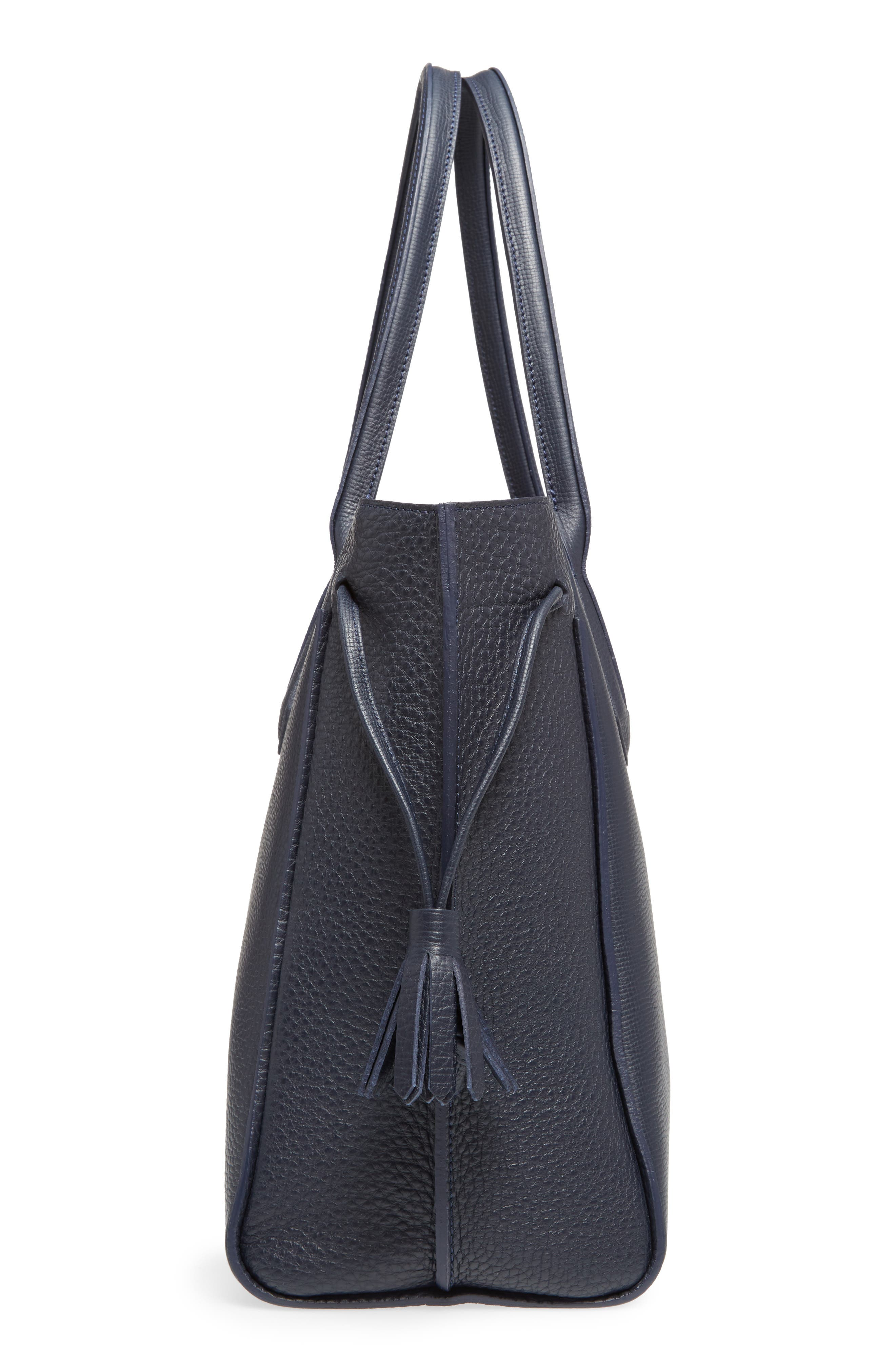 'Penelope' Tassel Drawstring Leather Tote,                             Alternate thumbnail 5, color,                             Midnight