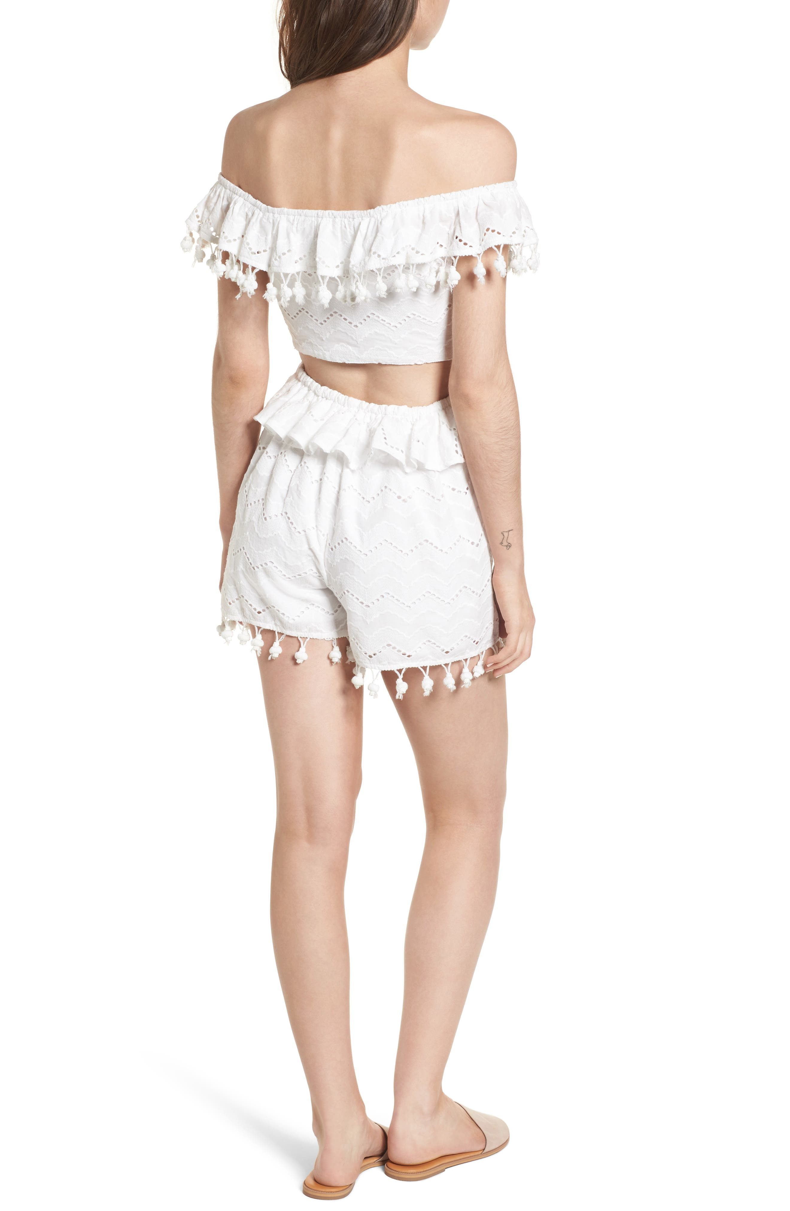 Pompom Cutout Off the Shoulder Romper,                             Alternate thumbnail 3, color,                             White