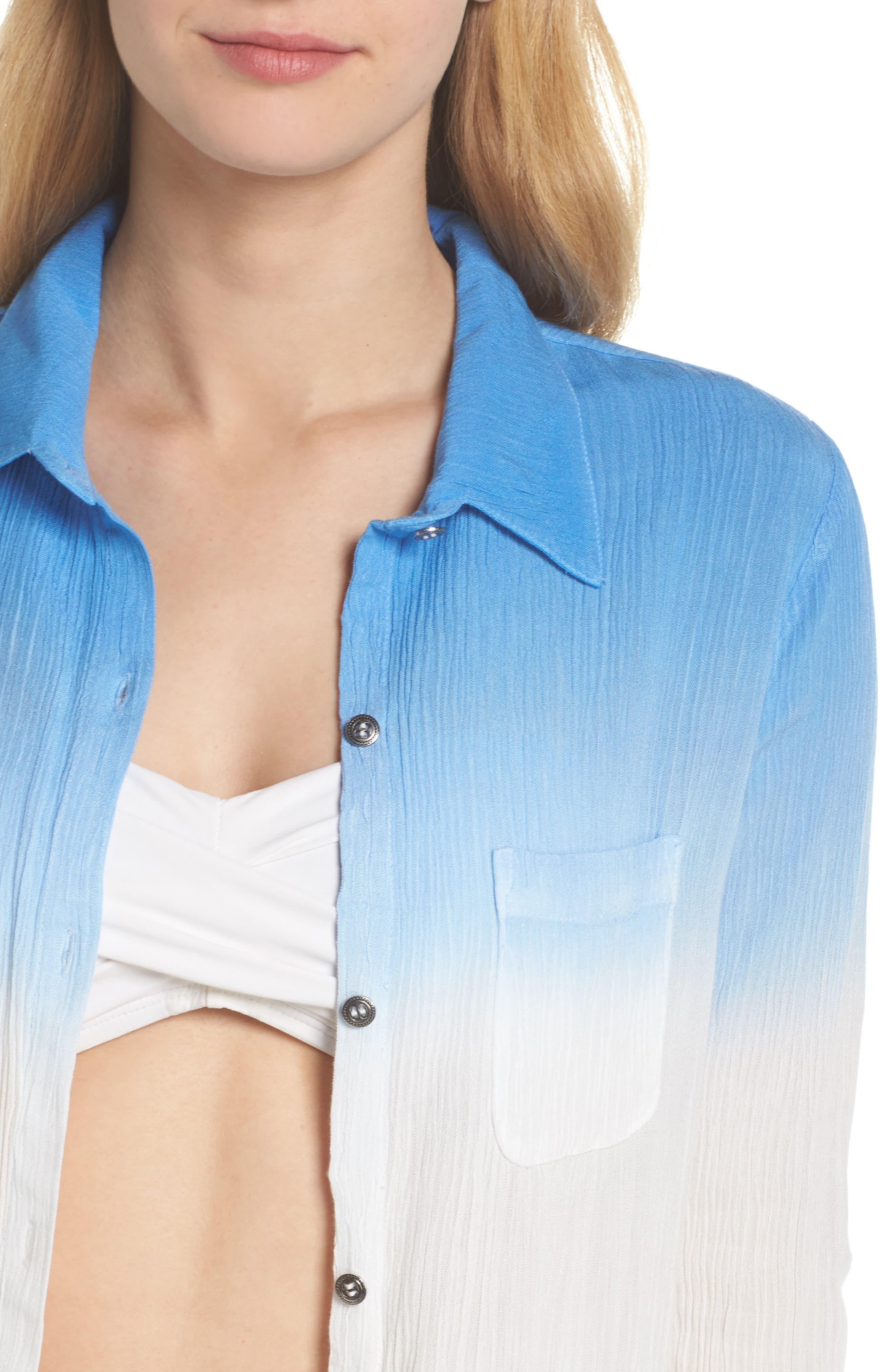 Big Sur Dip Dyed Cover-Up Boyfriend Shirt,                             Alternate thumbnail 3, color,                             Indigo