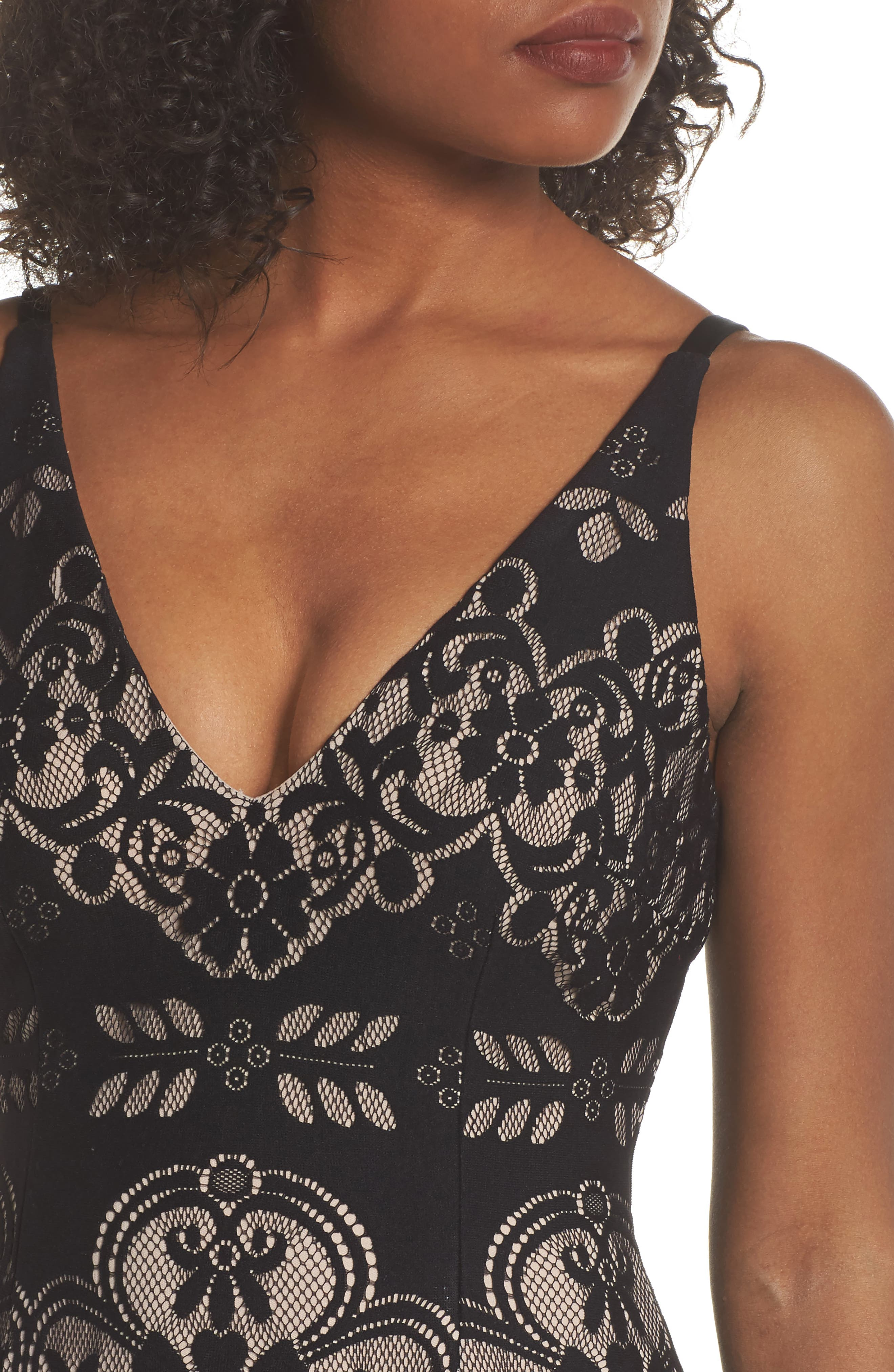 Lace V-Neck Gown,                             Alternate thumbnail 4, color,                             Black/ Nude
