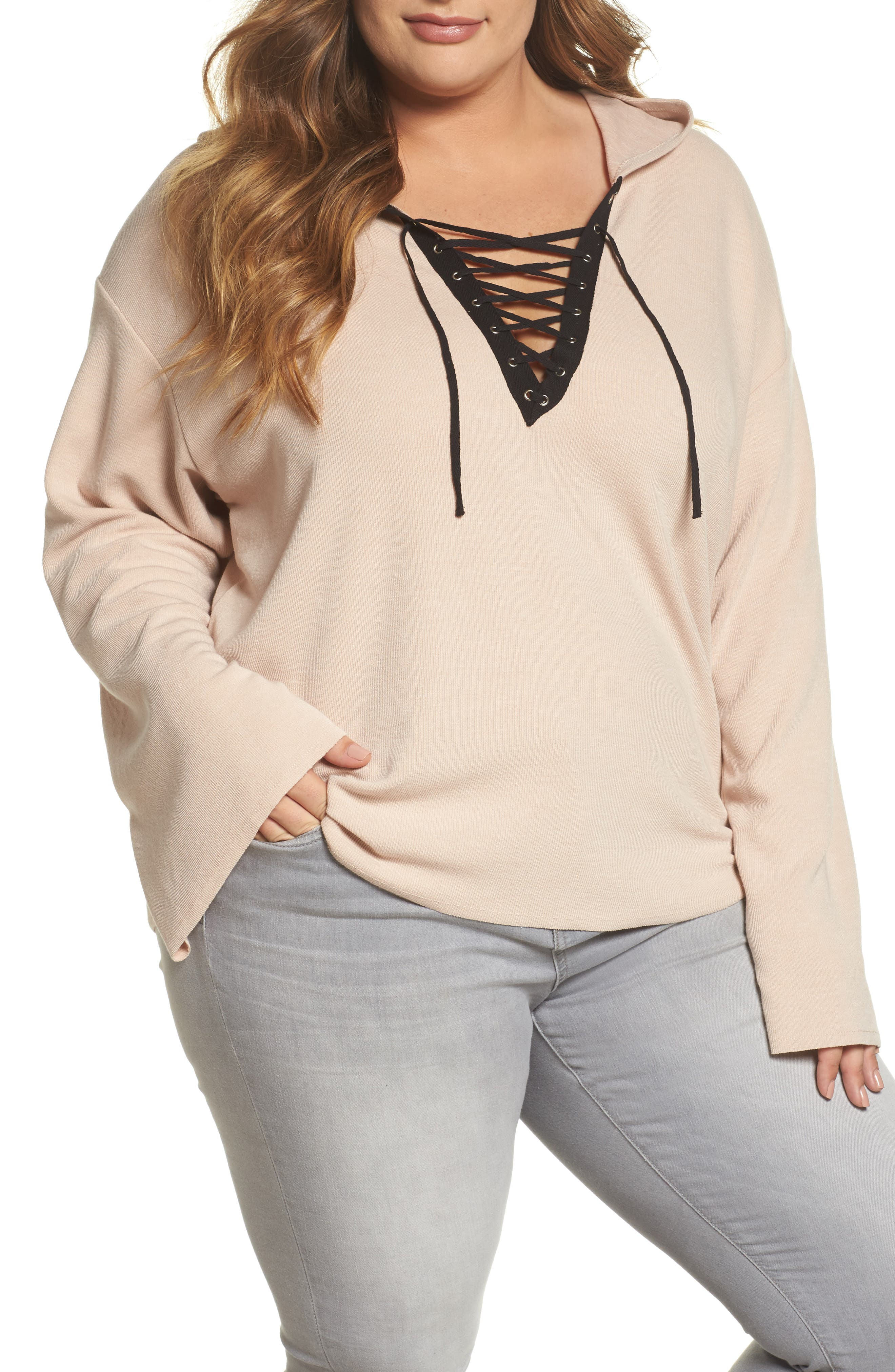 Main Image - Glamorous Lace-Up Hoodie (Plus Size)