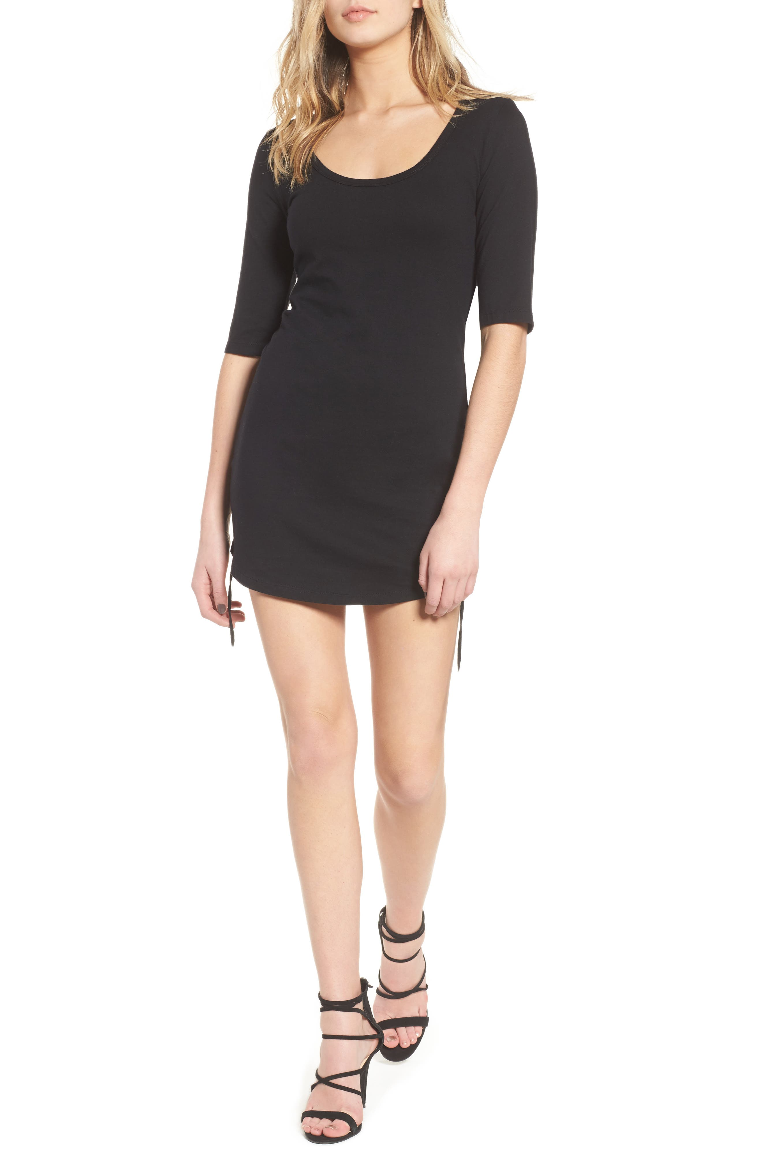 Ruched Body-Con Dress,                             Main thumbnail 1, color,                             Black