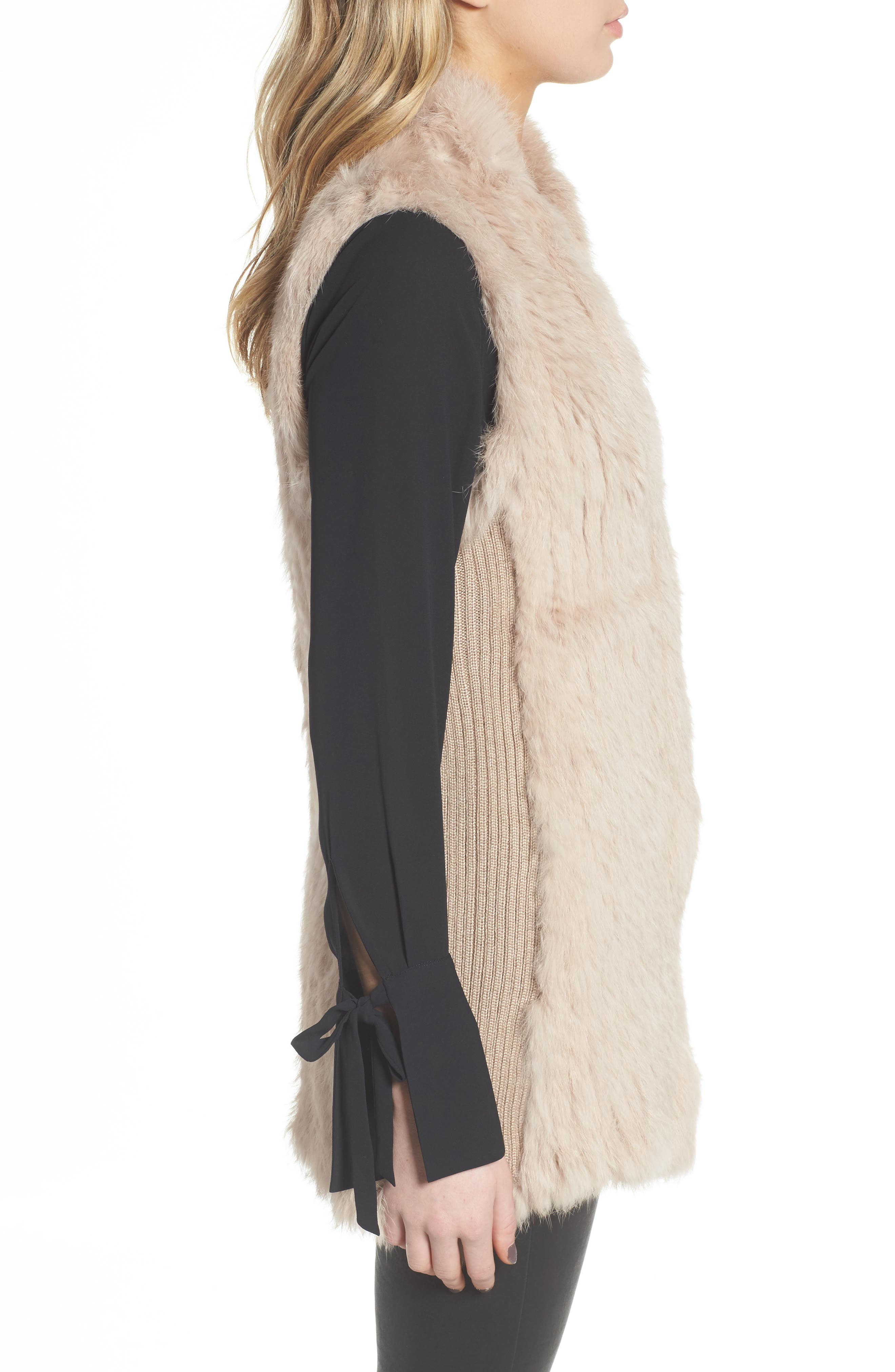 Alternate Image 3  - Love Token Genuine Rabbit Fur & Knit Vest (Nordstrom Exclusive)
