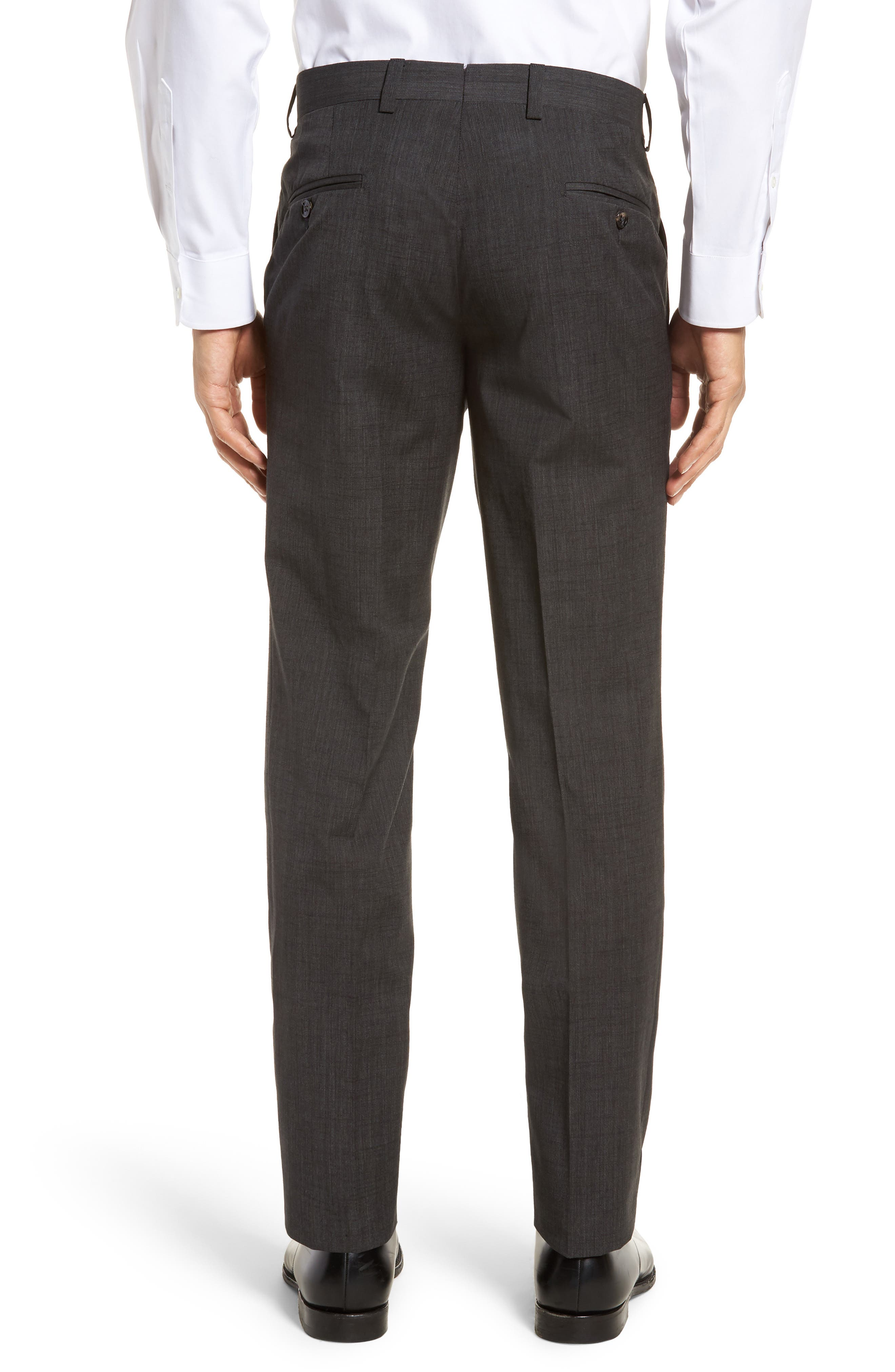 Jerome Flat Front Solid Wool & Cotton Trousers,                             Alternate thumbnail 2, color,                             Charcoal