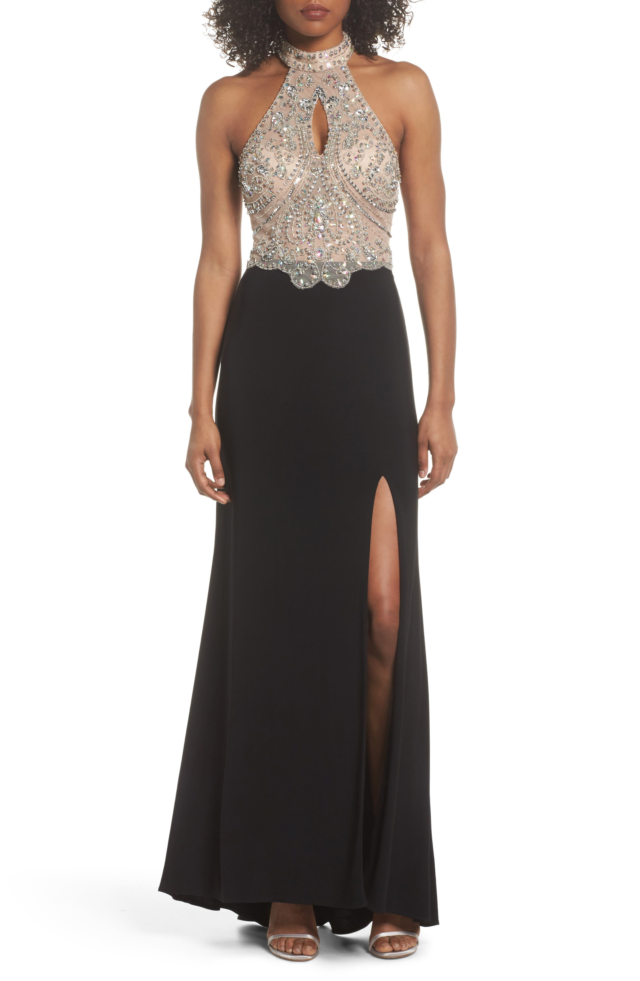 Embellished Bodice Halter Knit Gown,                             Main thumbnail 1, color,                             Nude/ Black