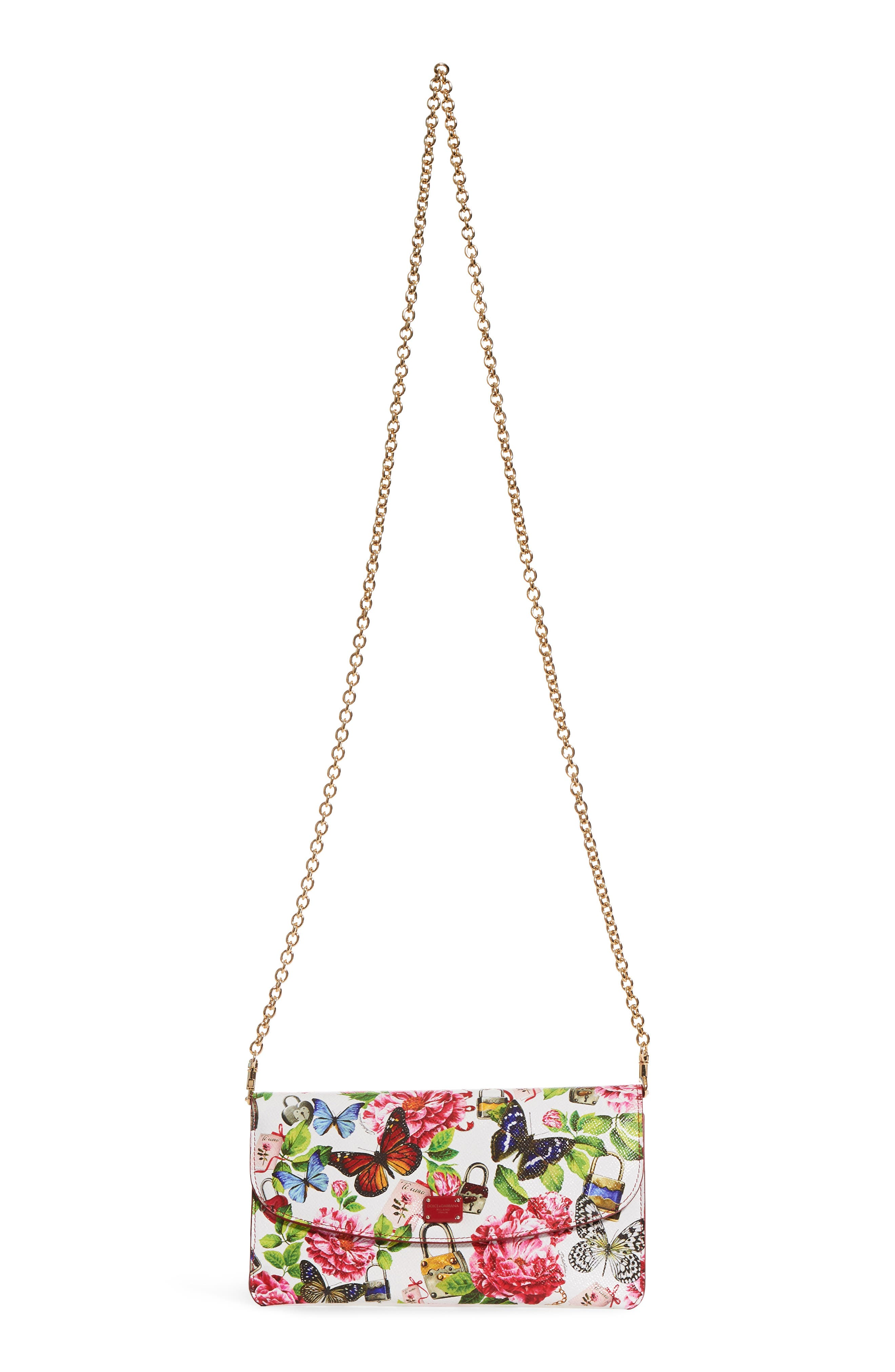 Floral Print Leather Wallet on a Chain,                         Main,                         color, White Multi
