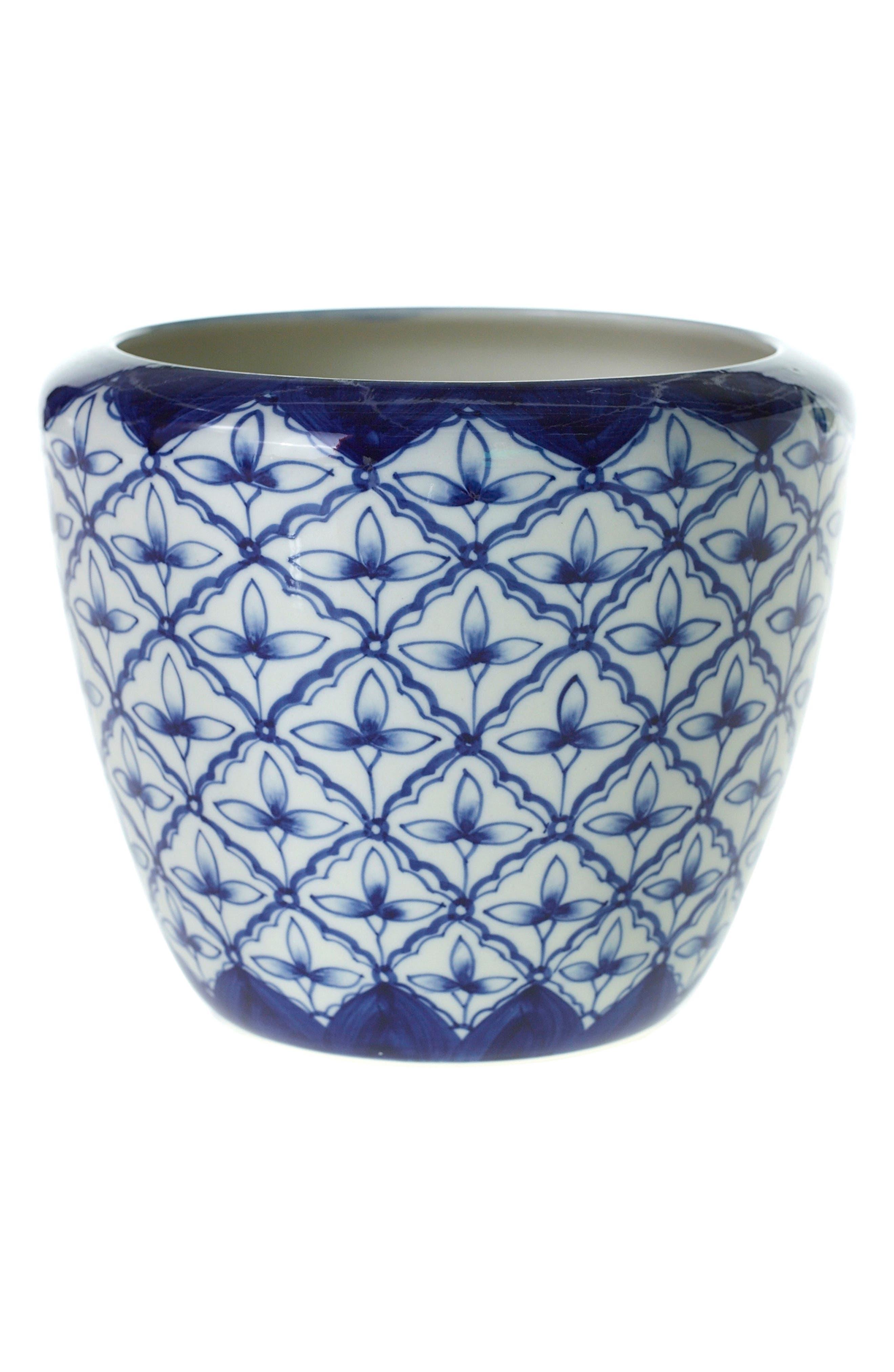 Eleanor Hand Painted Ceramic Pot,                         Main,                         color, Blue