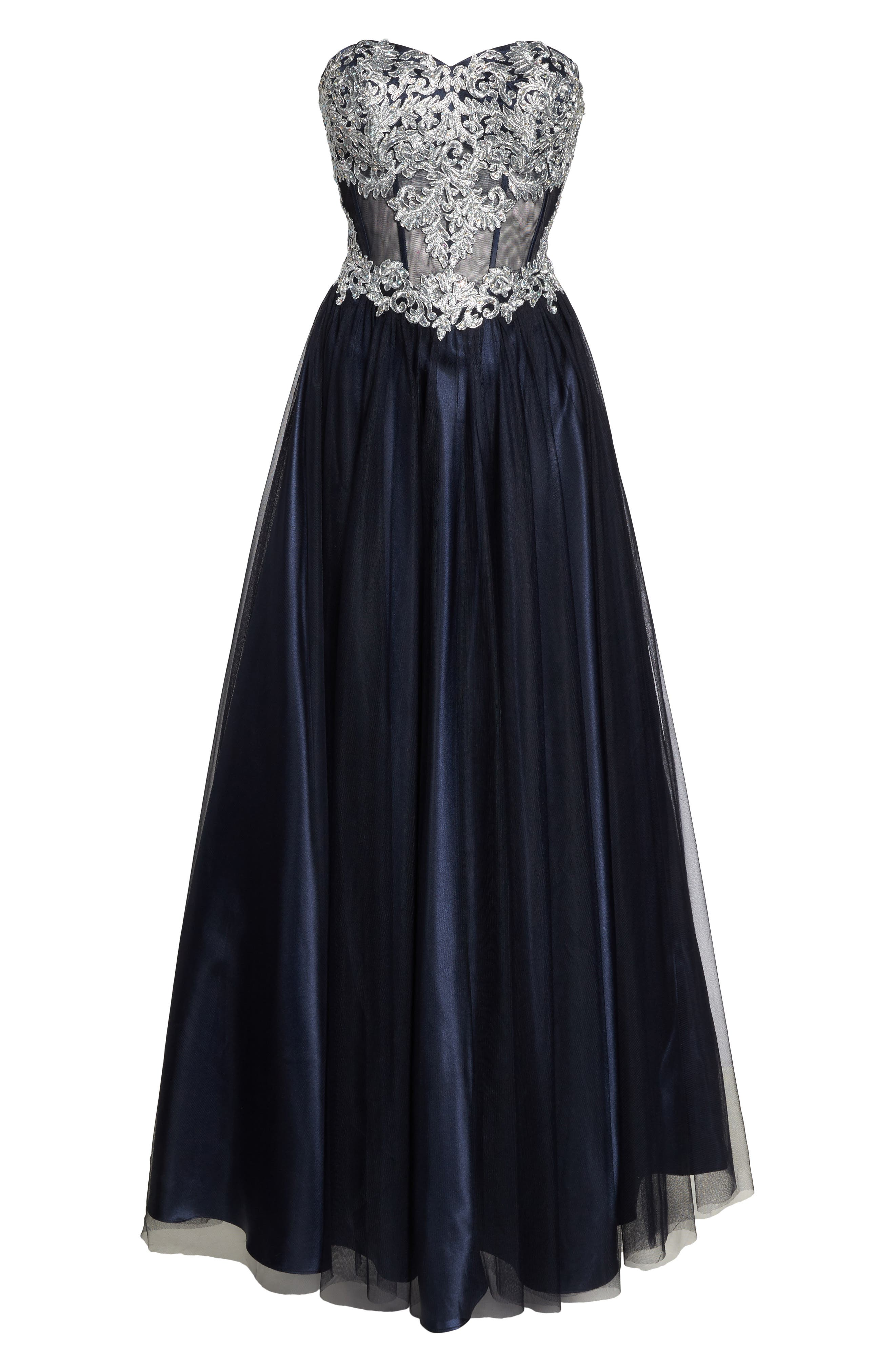 Embellished Corset Ballgown,                             Alternate thumbnail 6, color,                             Navy/ Silver