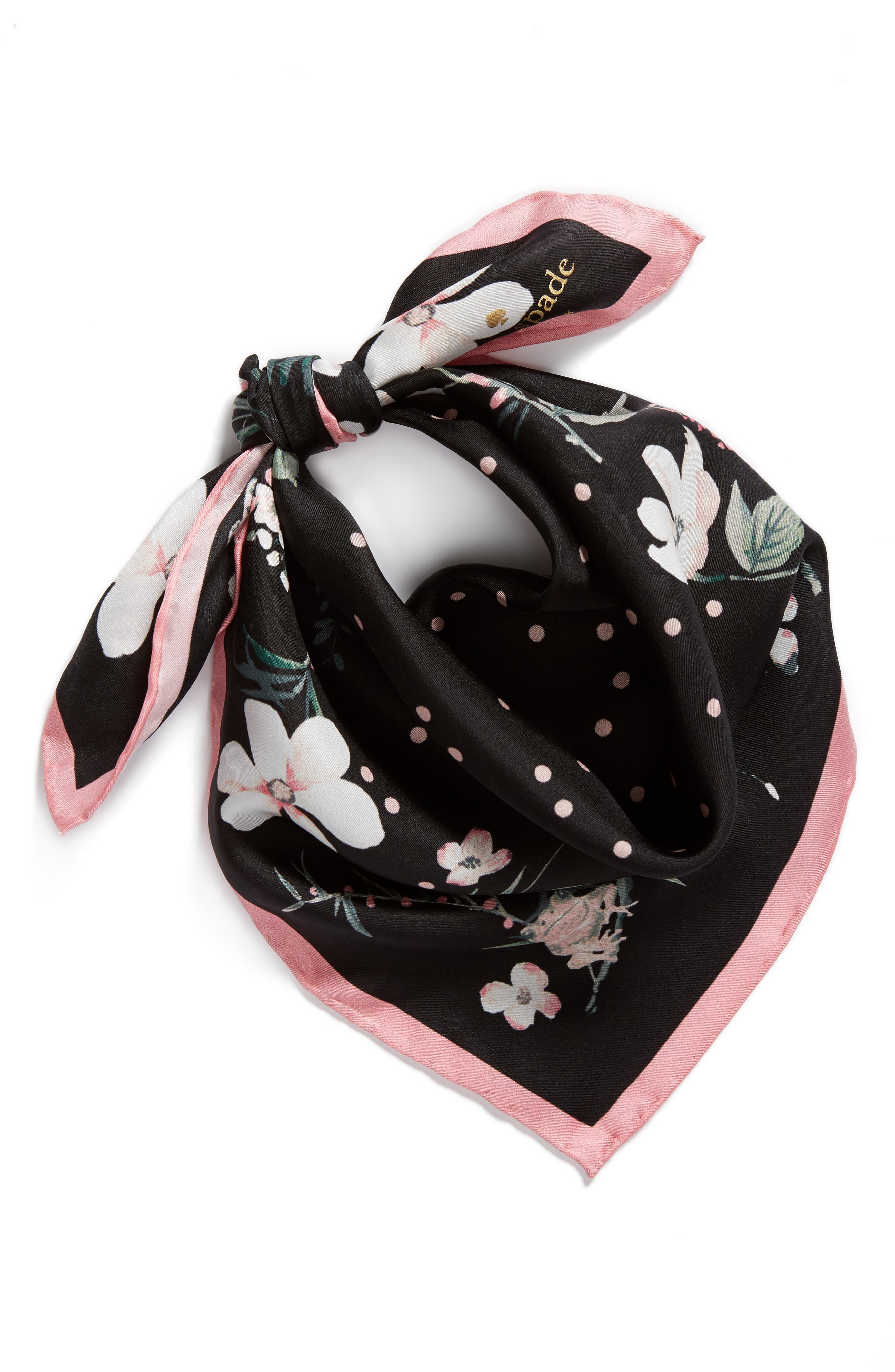 botanical silk bandana,                             Alternate thumbnail 2, color,                             Black