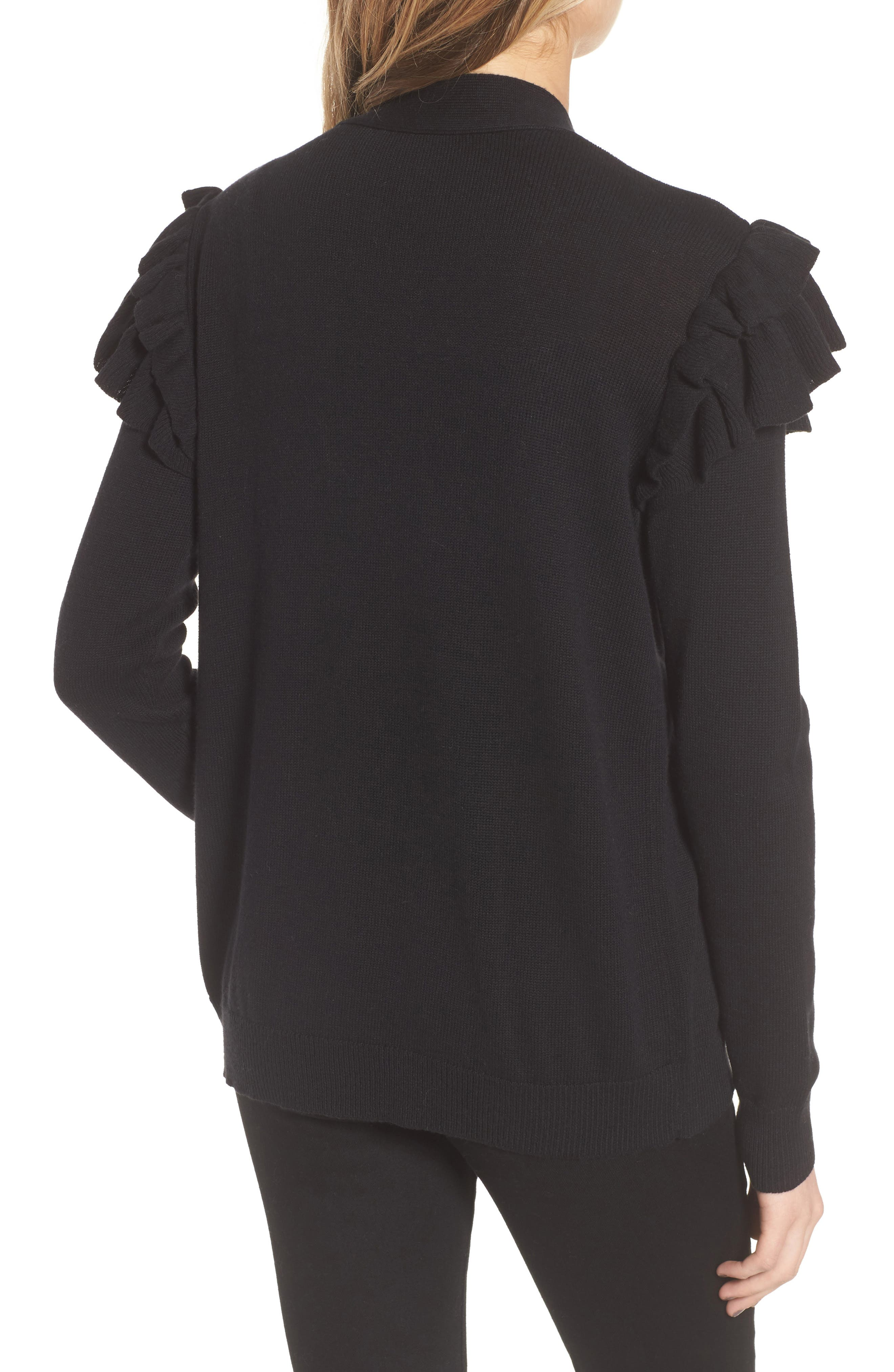 Ruffle Sleeve Cardigan,                             Alternate thumbnail 2, color,                             Black