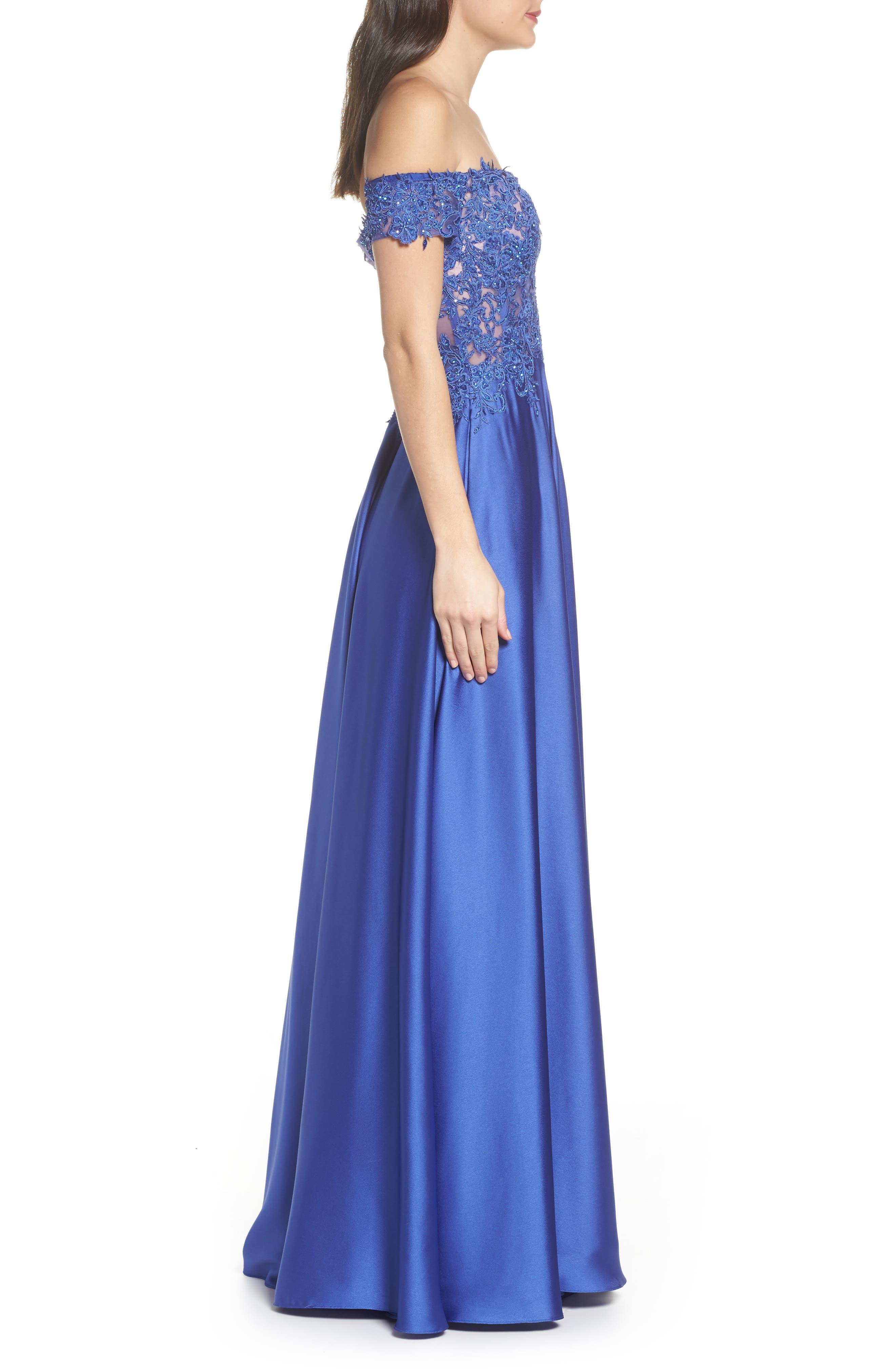 Embroidered Off the Shoulder Satin A-Line Gown,                             Alternate thumbnail 3, color,                             Dark Periwinkle