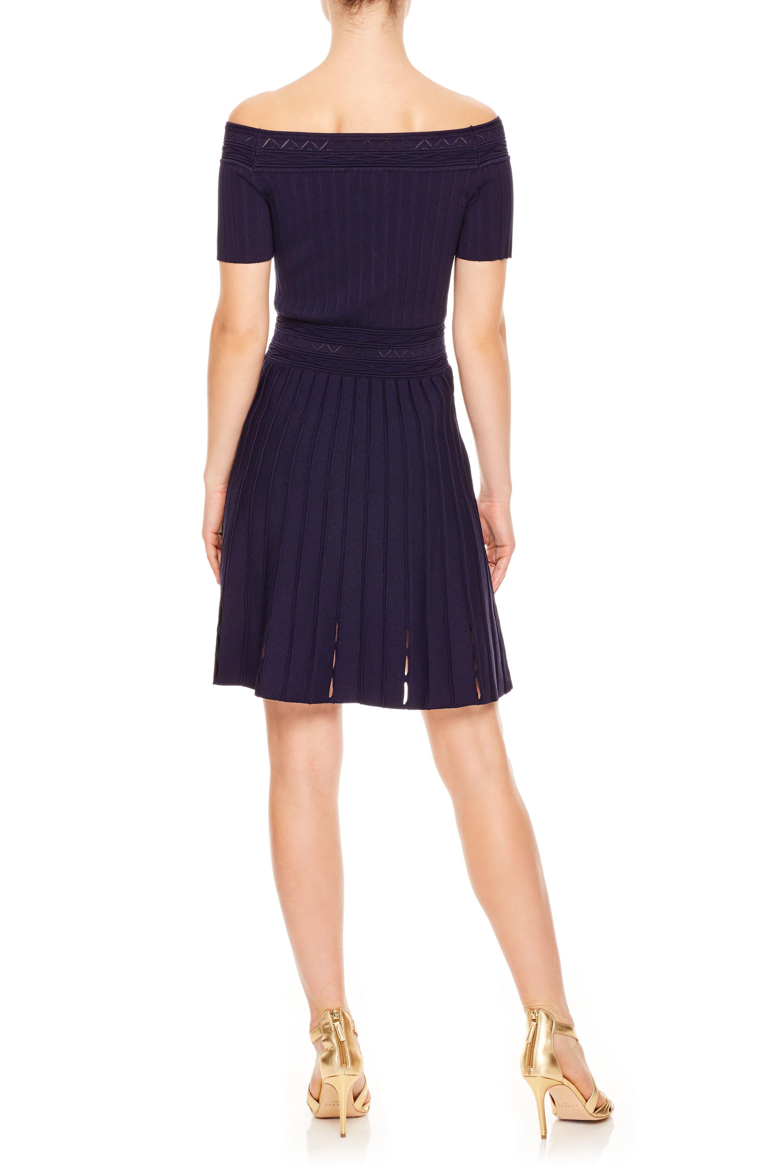Off the Shoulder Textured Fit & Flare Dress,                             Alternate thumbnail 2, color,                             Navy Blue