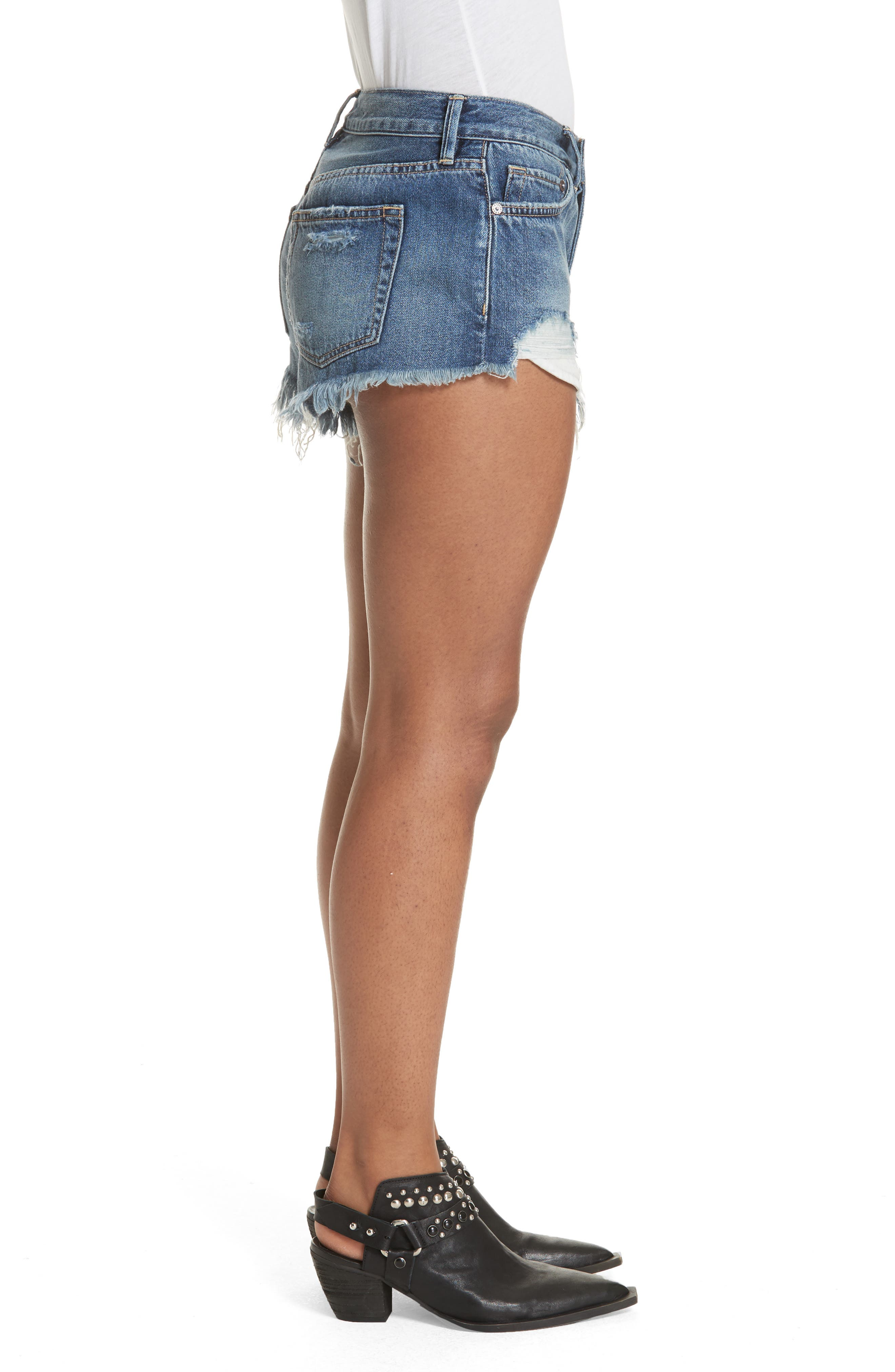 We the Free by Free People Loving Good Vibrations Shorts,                             Alternate thumbnail 3, color,                             Blue Combo