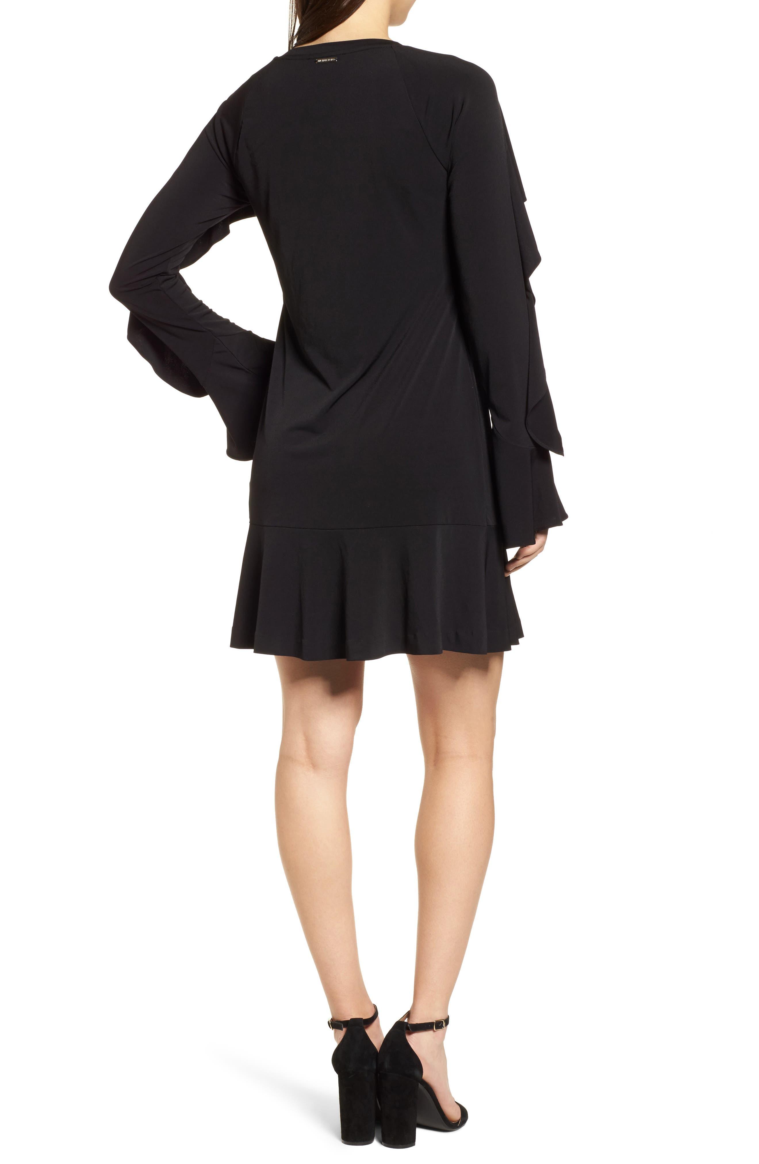 Flounce Panel Long Sleeve Dress,                             Alternate thumbnail 2, color,                             Black