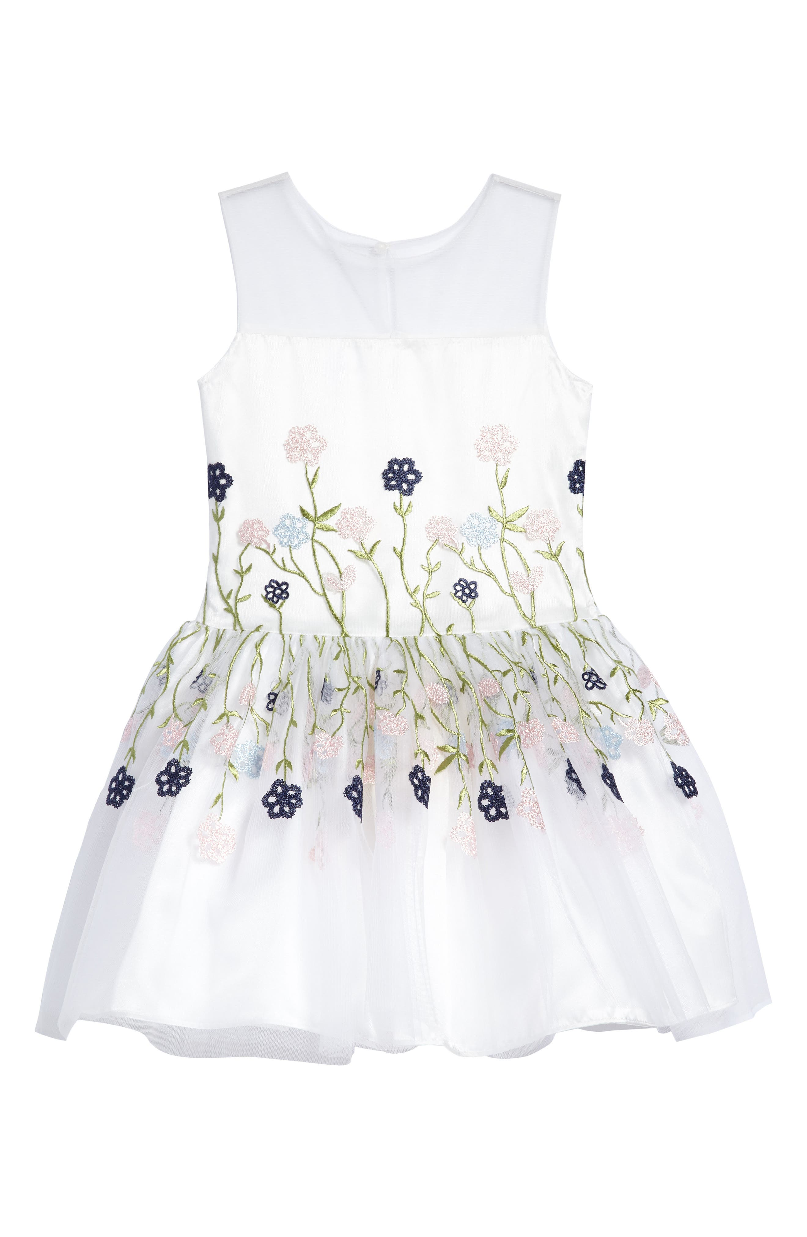 Floral Embroidered Dress,                         Main,                         color, White