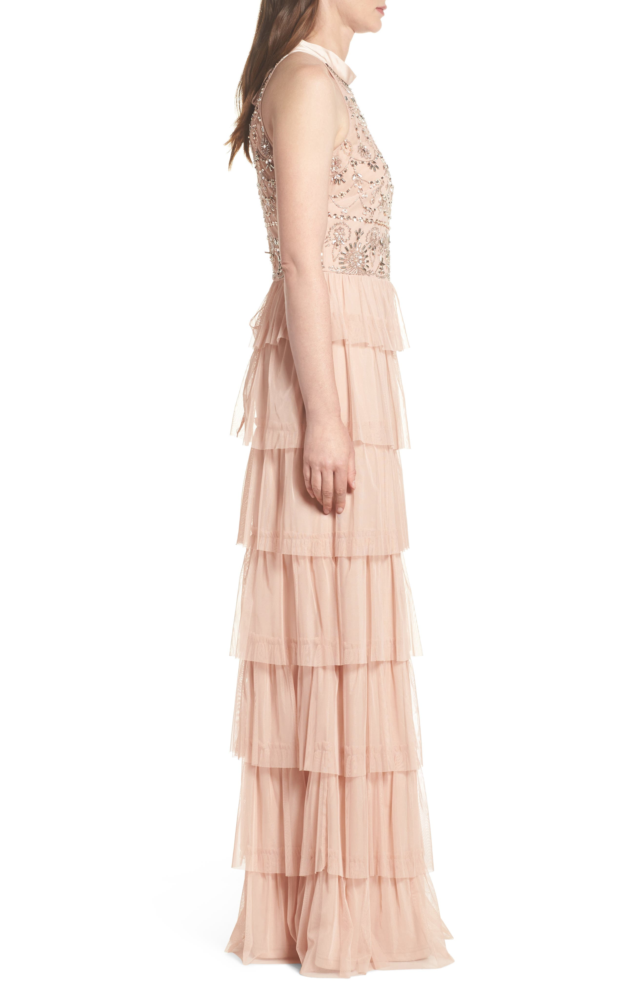 Embellished Tiered Maxi Dress,                             Alternate thumbnail 3, color,                             Blush