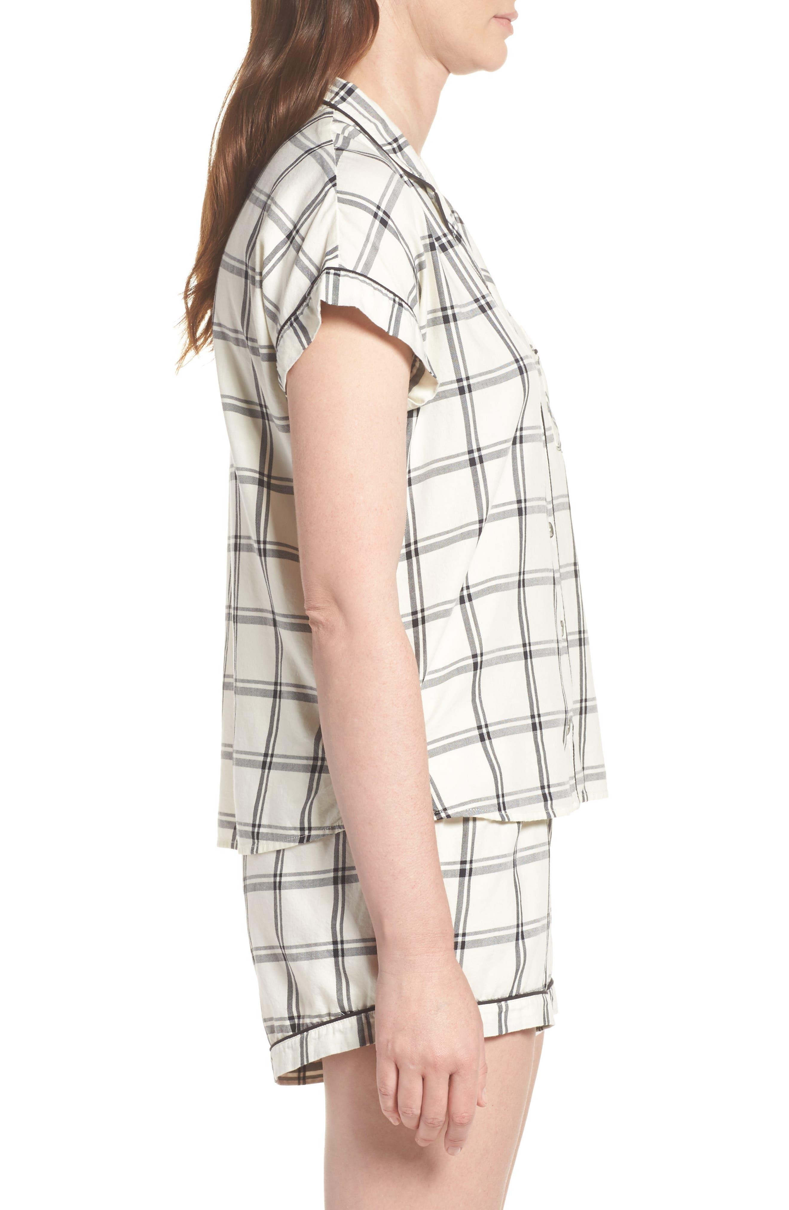 Amelia Short Pajamas,                             Alternate thumbnail 3, color,                             Cream/ Black