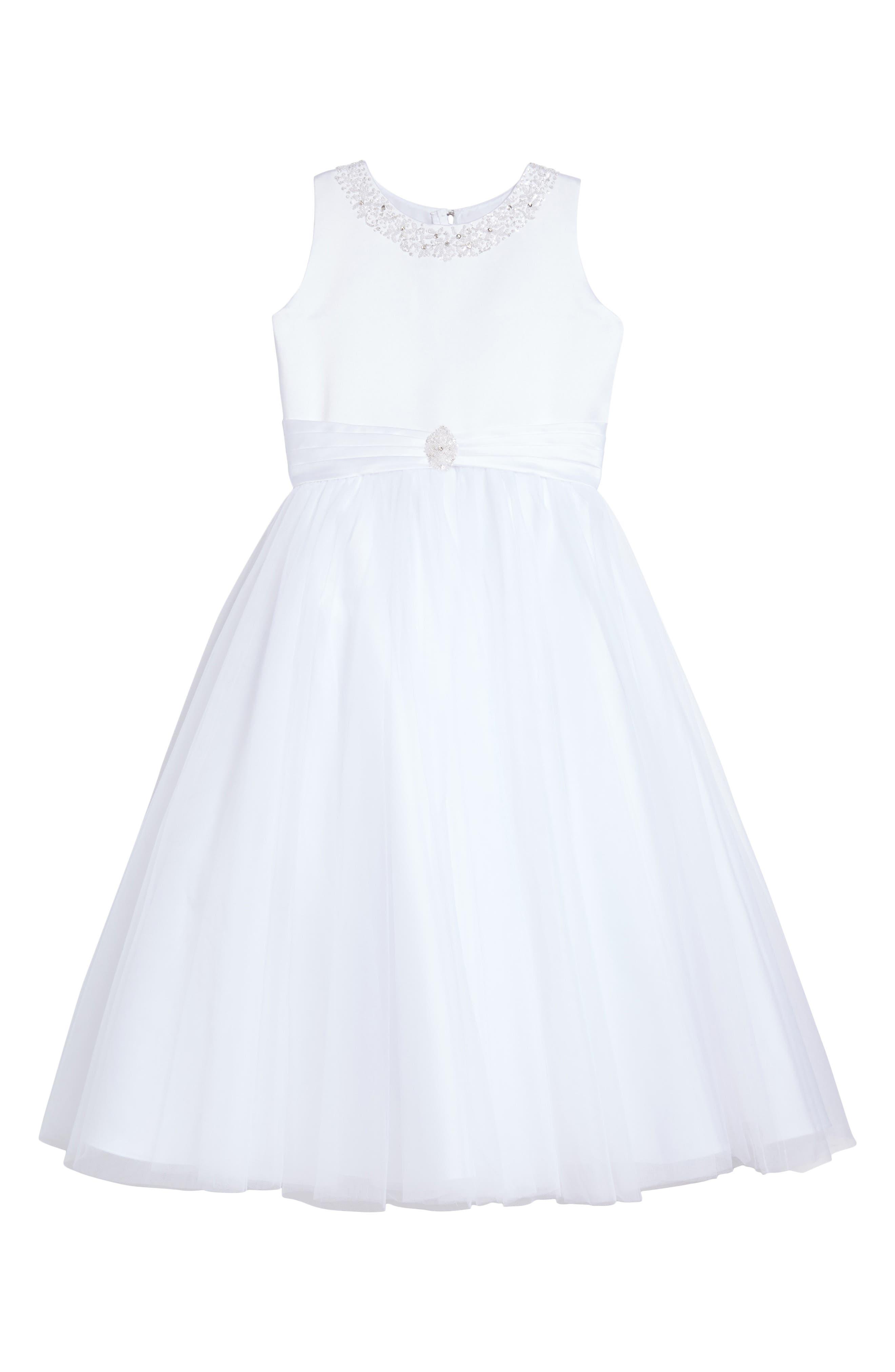 Main Image - Joan Calabrese for Mon Cheri Beaded Satin & Tulle First Communion Dress (Toddler Girls, Little Girls & Big Girls)
