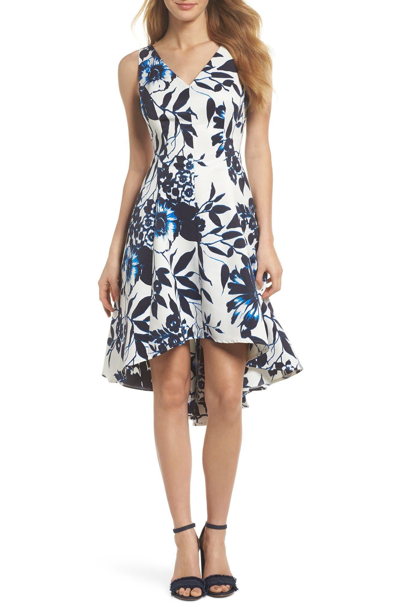 Eliza J High/Low Hem Fit & Flare Dress