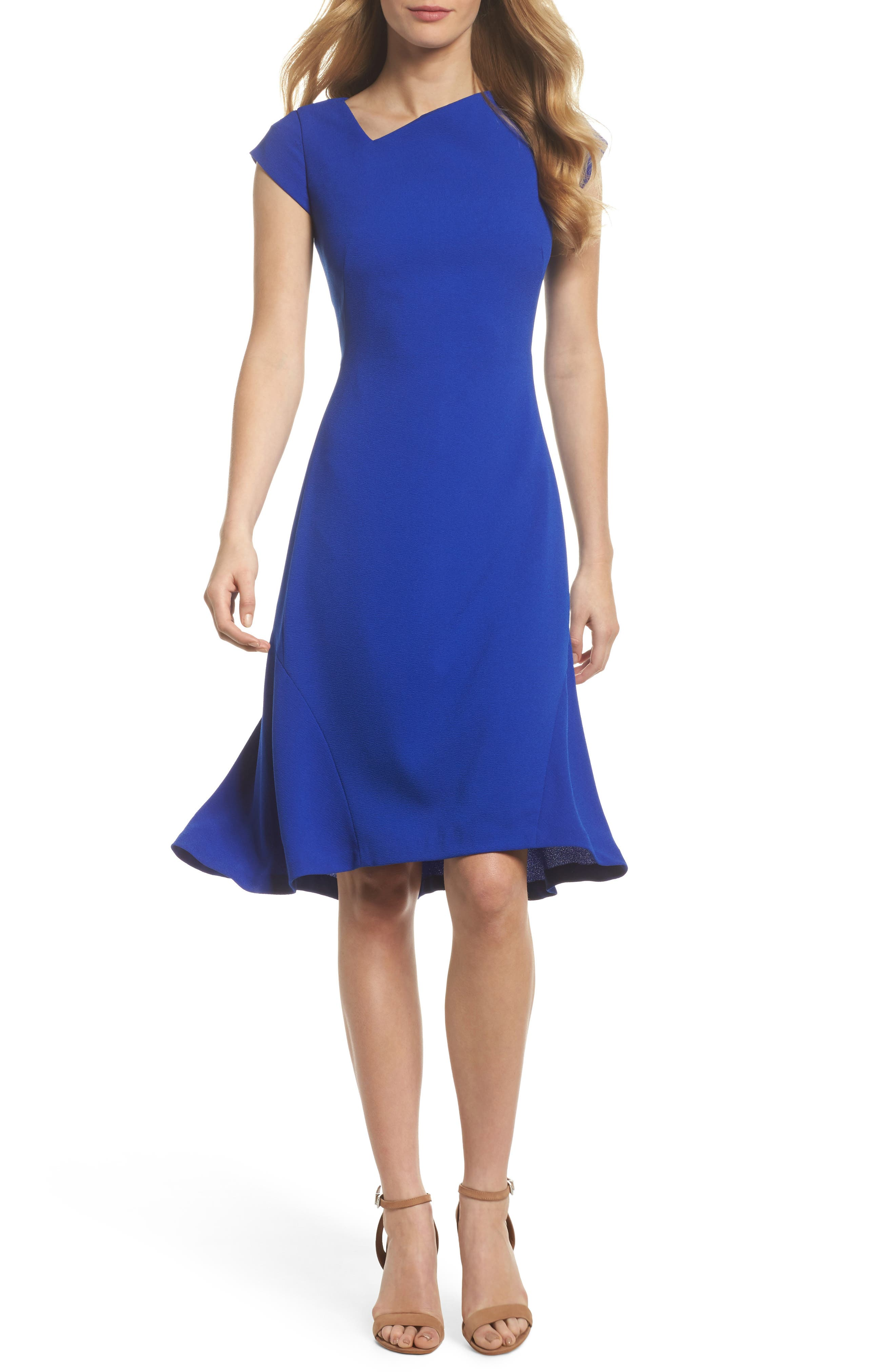 Asymmetrical Neck Fit & Flare Dress,                         Main,                         color, Royal