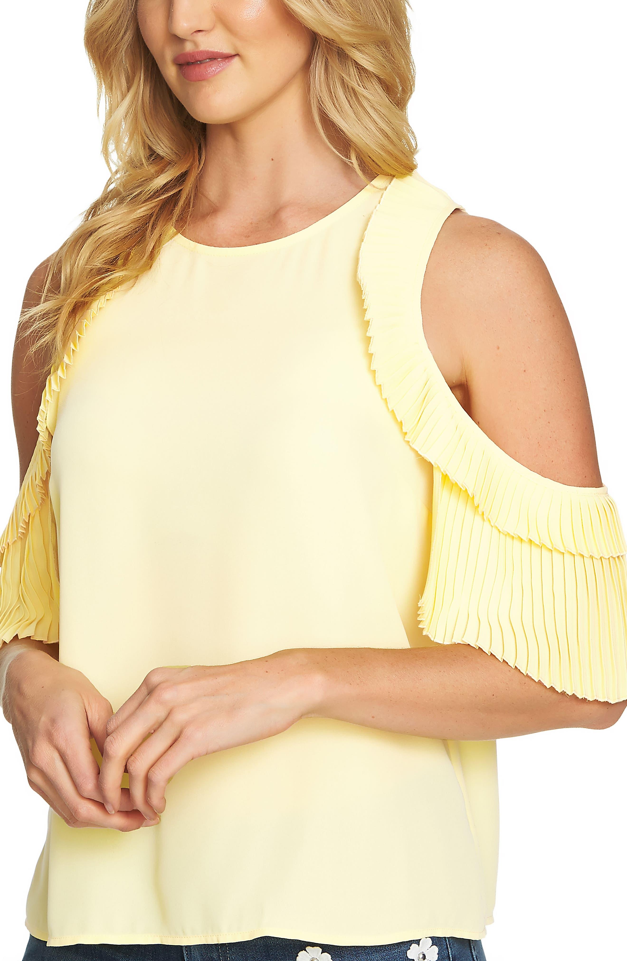 CeCe Cold Shoulder Pleated Blouse