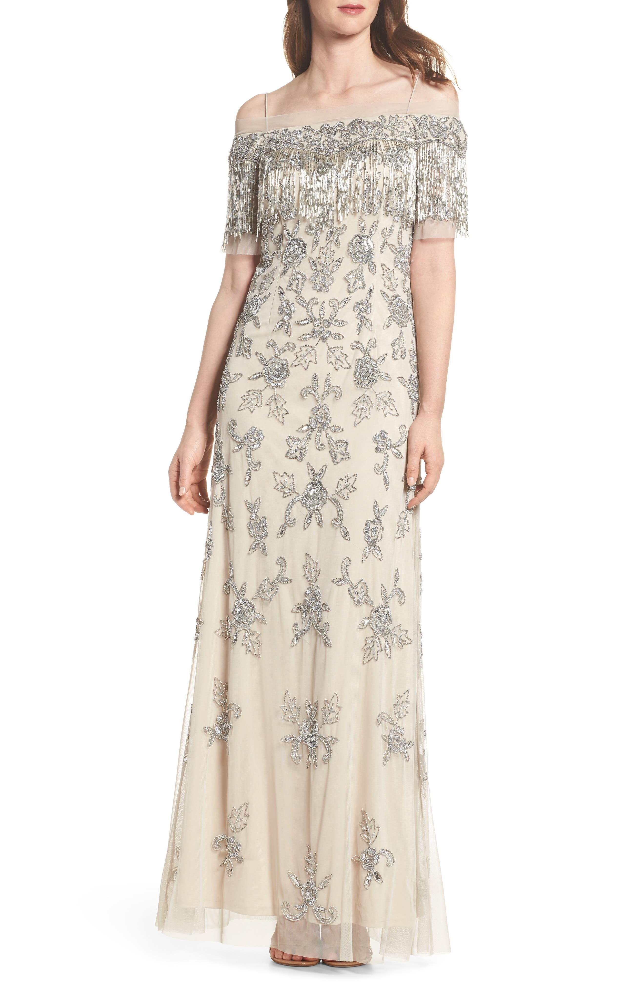 Adrianna Papell Fringe Bead Cold Shoulder Gown