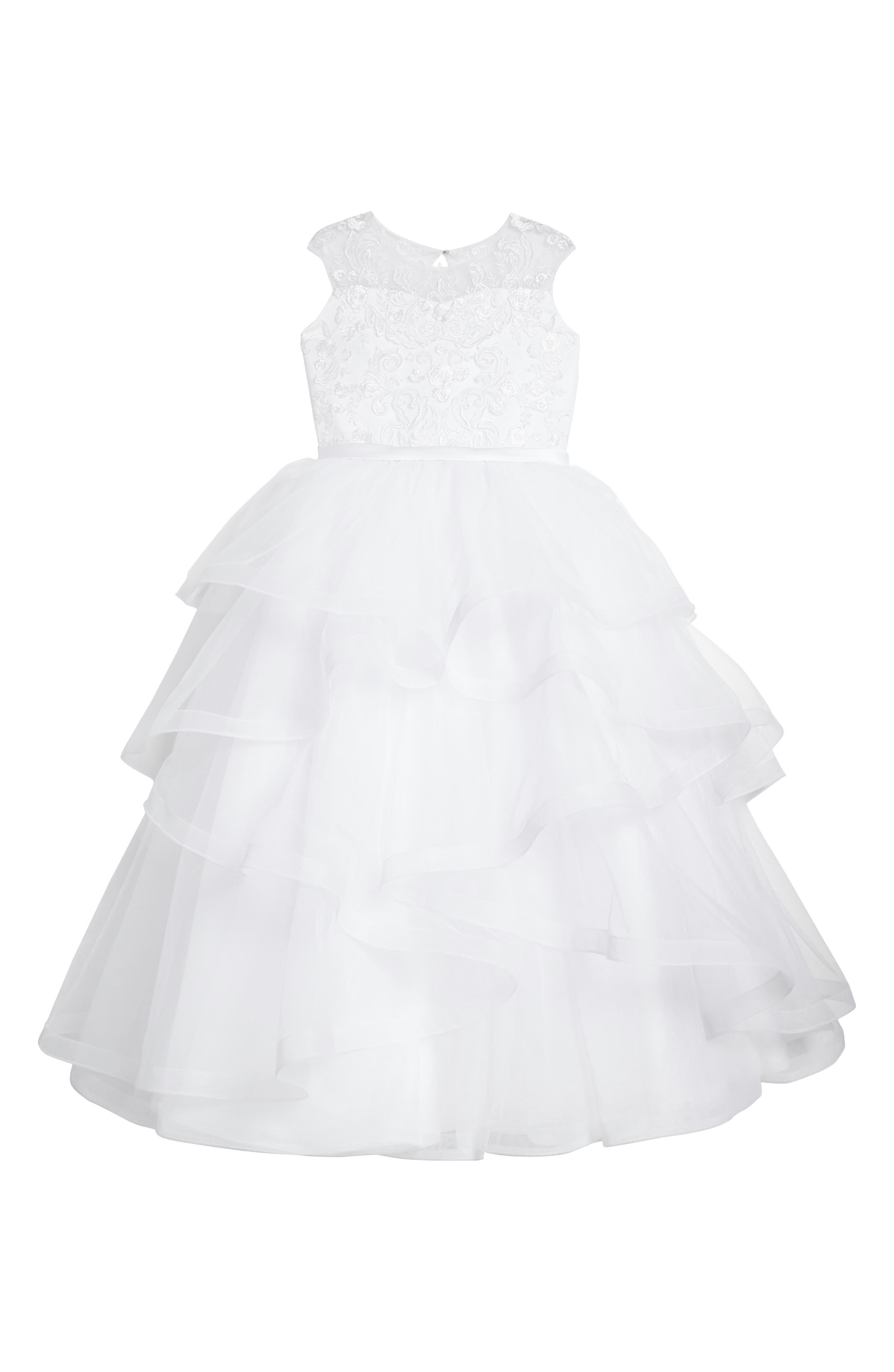 Main Image - Joan Calabrese for Mon Cheri Tiered First Communion Dress (Little Girls & Big Girls)