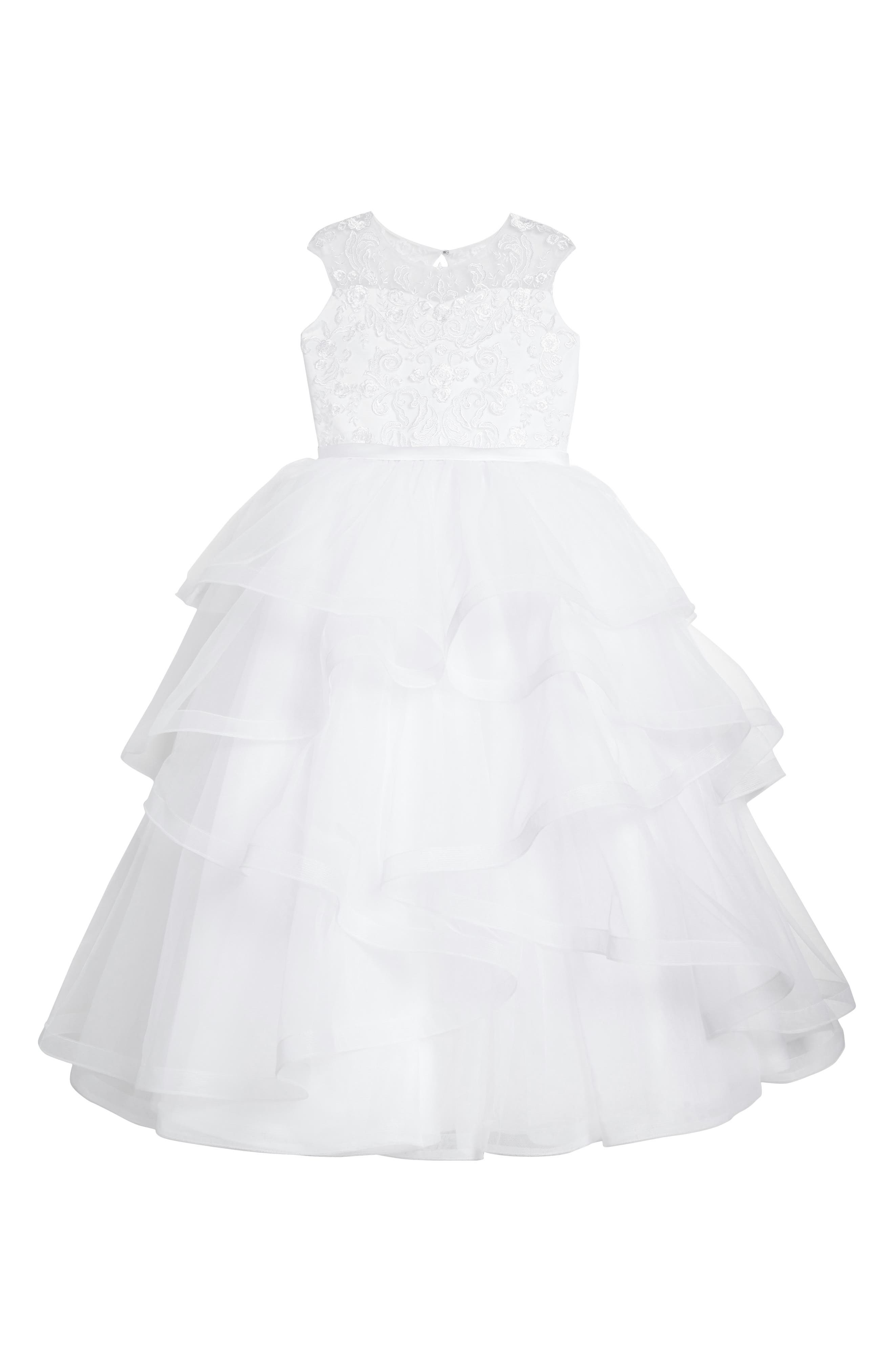 Tiered First Communion Dress,                         Main,                         color, White