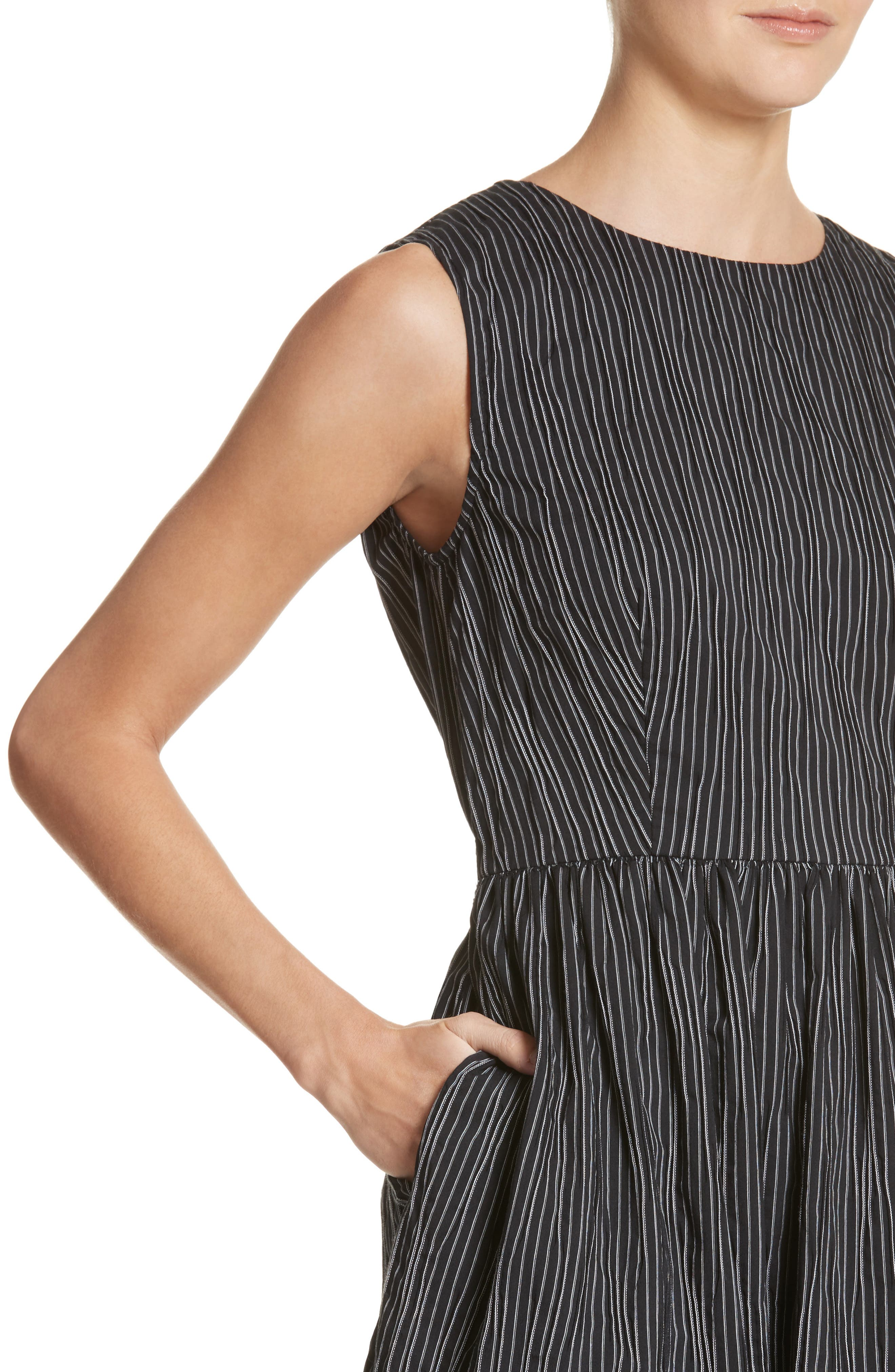 Stripe Crinkle Cotton Blend Midi Dress,                             Alternate thumbnail 4, color,                             Black/ White Stripe