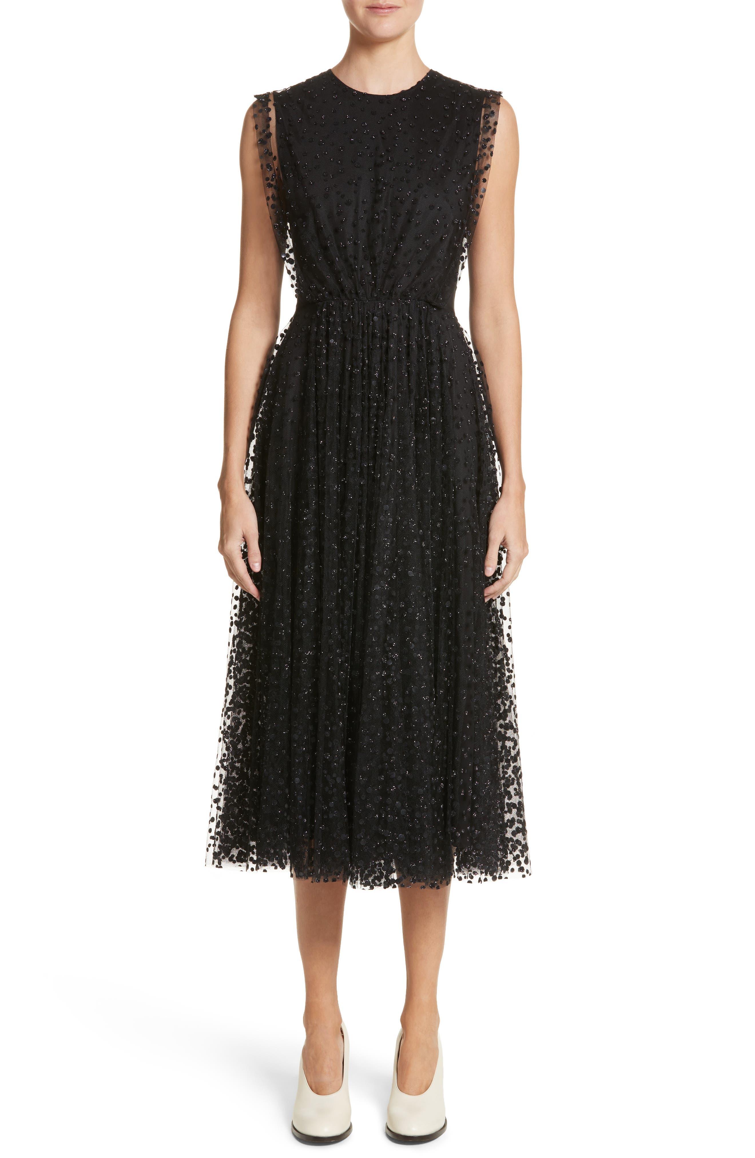 Sparkle Dot Tulle Midi Dress,                             Main thumbnail 1, color,                             Black