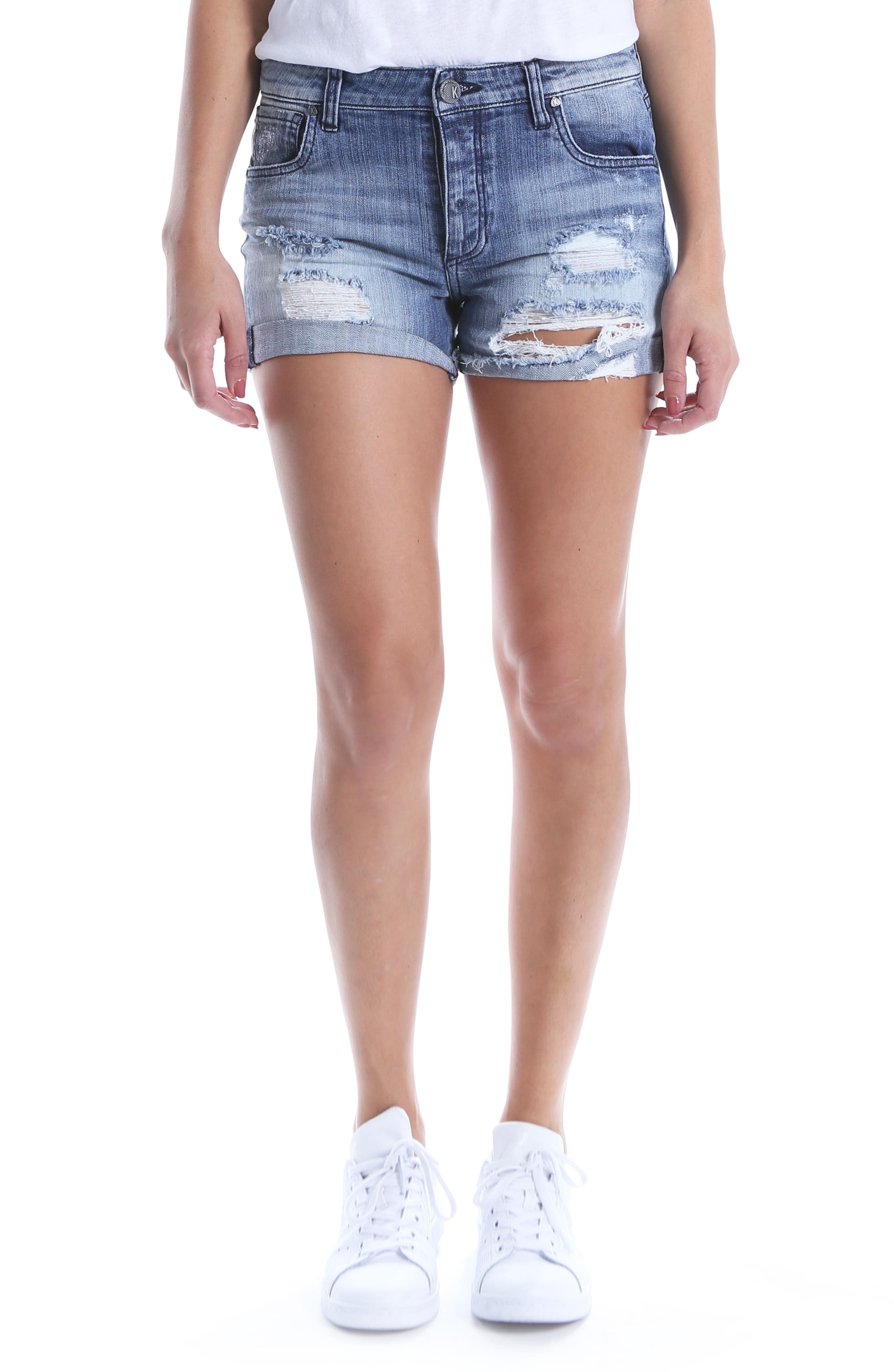 KUT Kollection Madeline Ripped Denim Shorts,                             Main thumbnail 1, color,                             Instructed