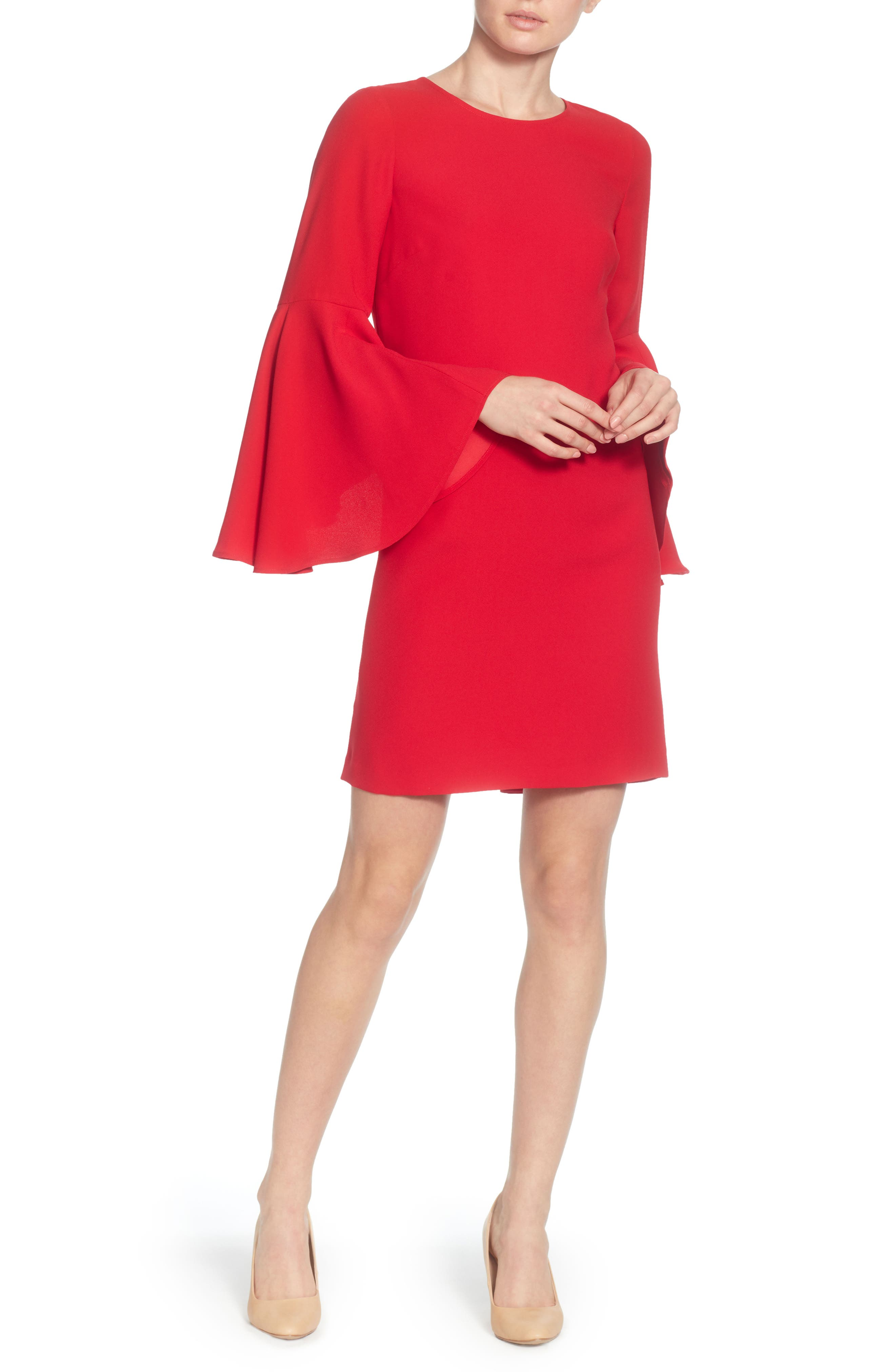 Claudette Shift Dress,                             Main thumbnail 1, color,                             Lipstick Red