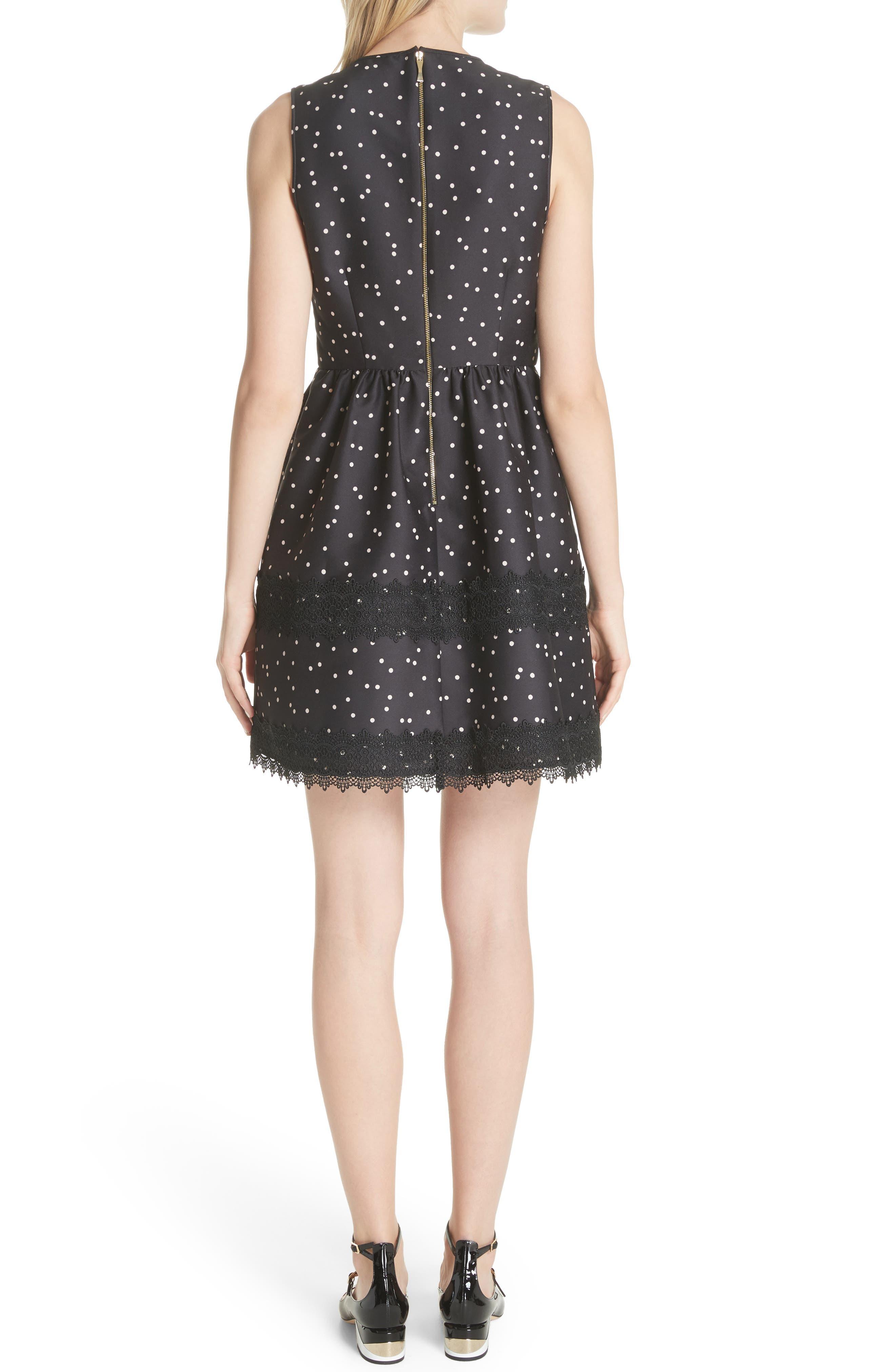 scatter dot mikado fit & flare dress,                             Alternate thumbnail 2, color,                             Black Multi