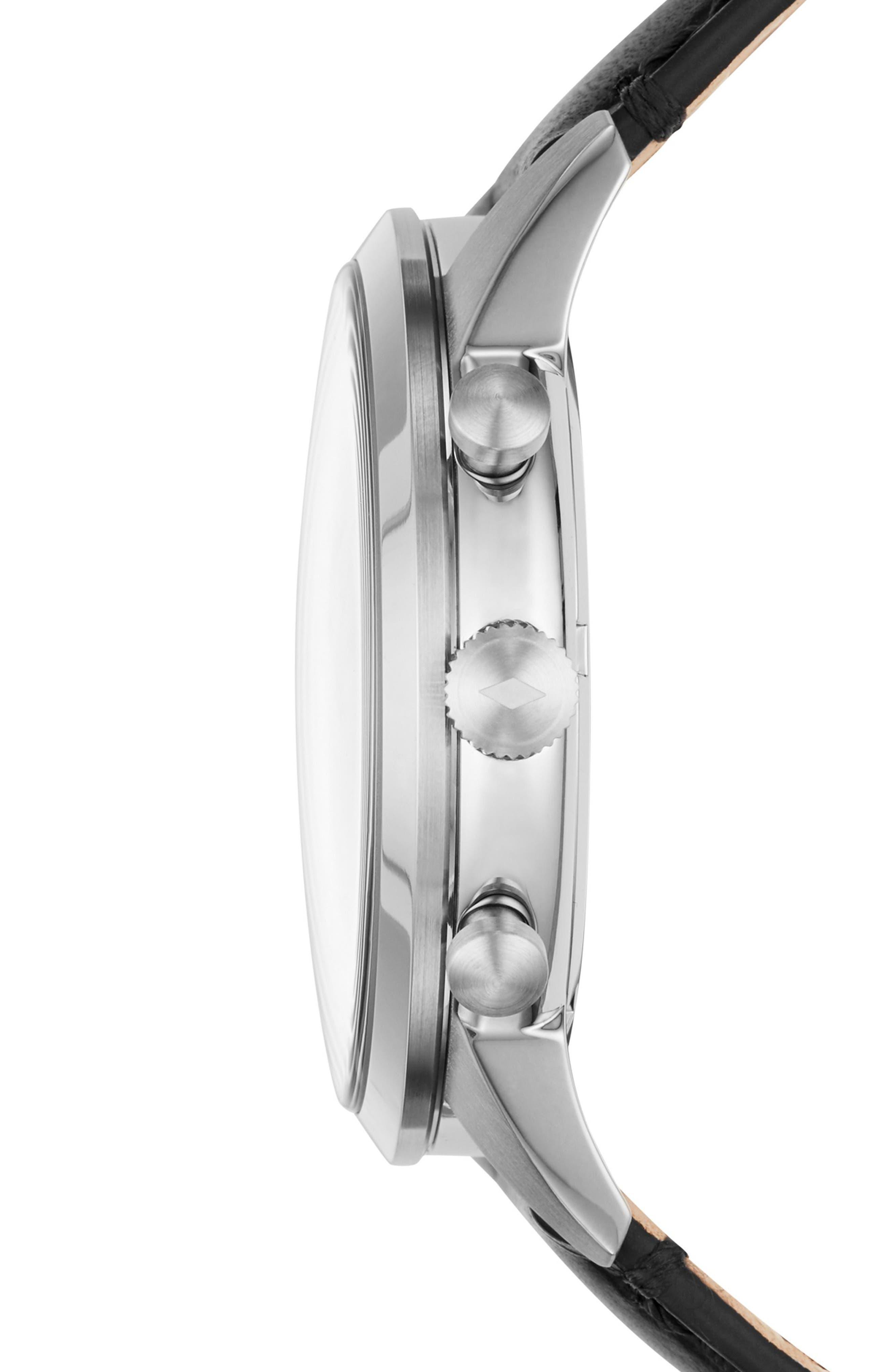 Townsman Chronograph Leather Strap Watch, 44mm,                             Alternate thumbnail 2, color,                             Black/ Silver