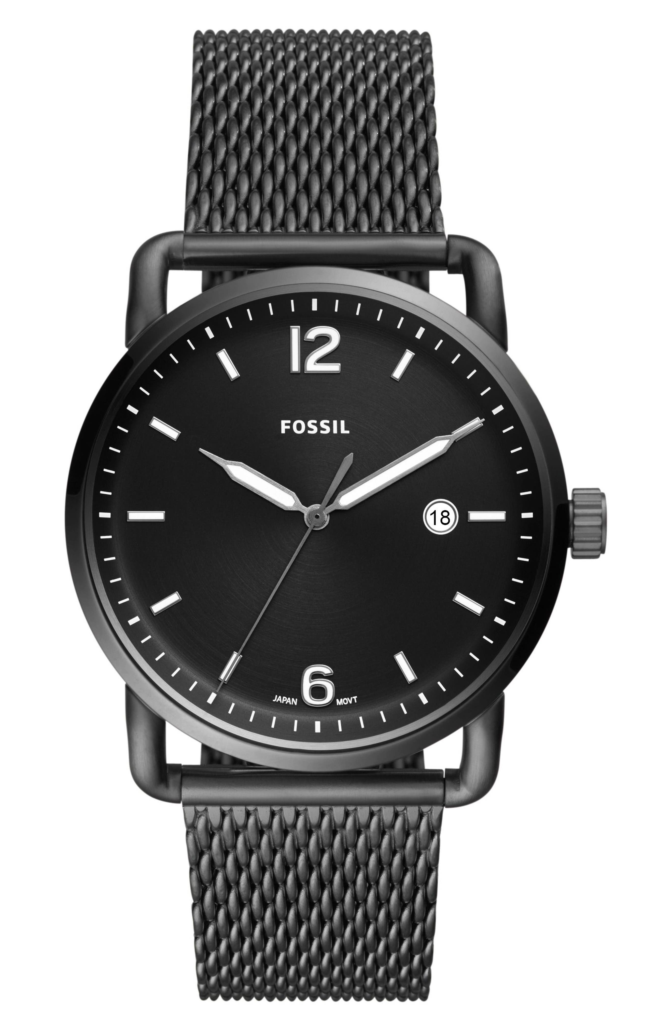 The Commuter Mesh Strap Watch, 42mm,                         Main,                         color, Grey/ Black/ Smoke