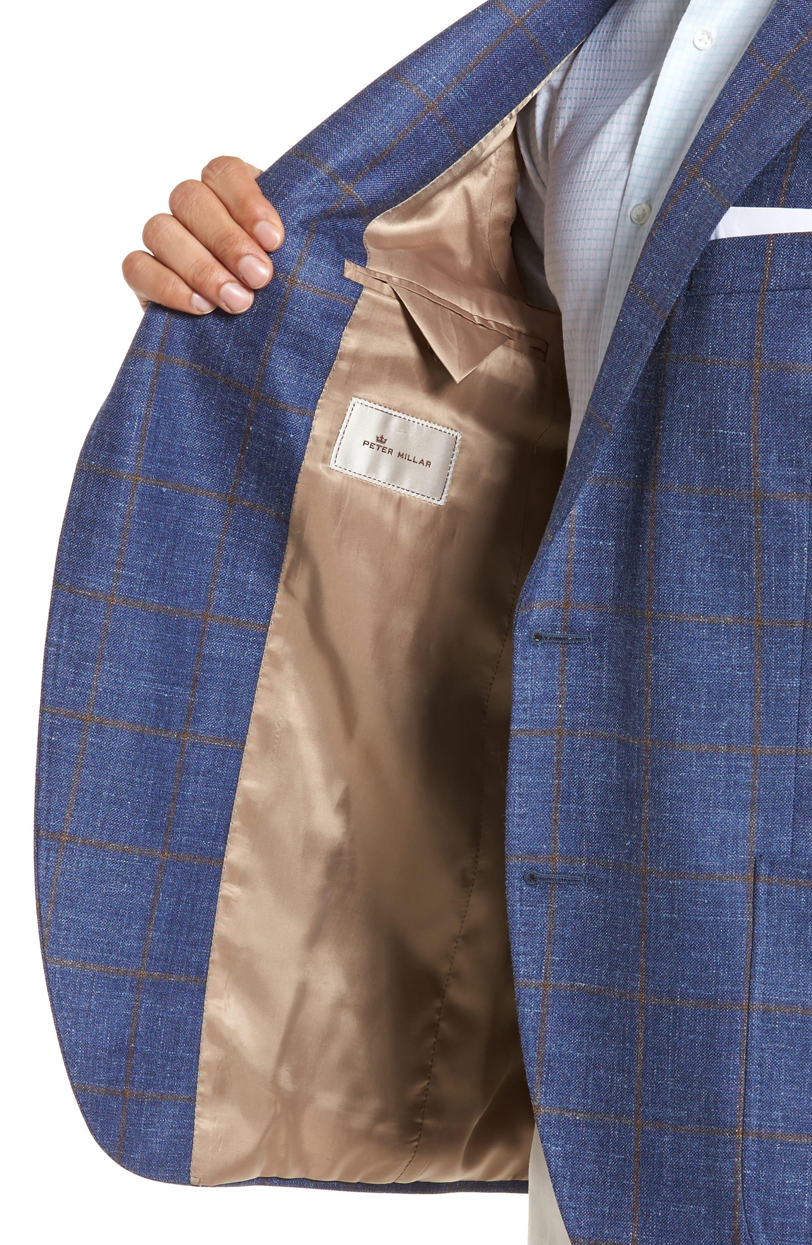 Classic Fit Windowpane Wool Blend Sport Coat,                             Alternate thumbnail 4, color,                             Navy