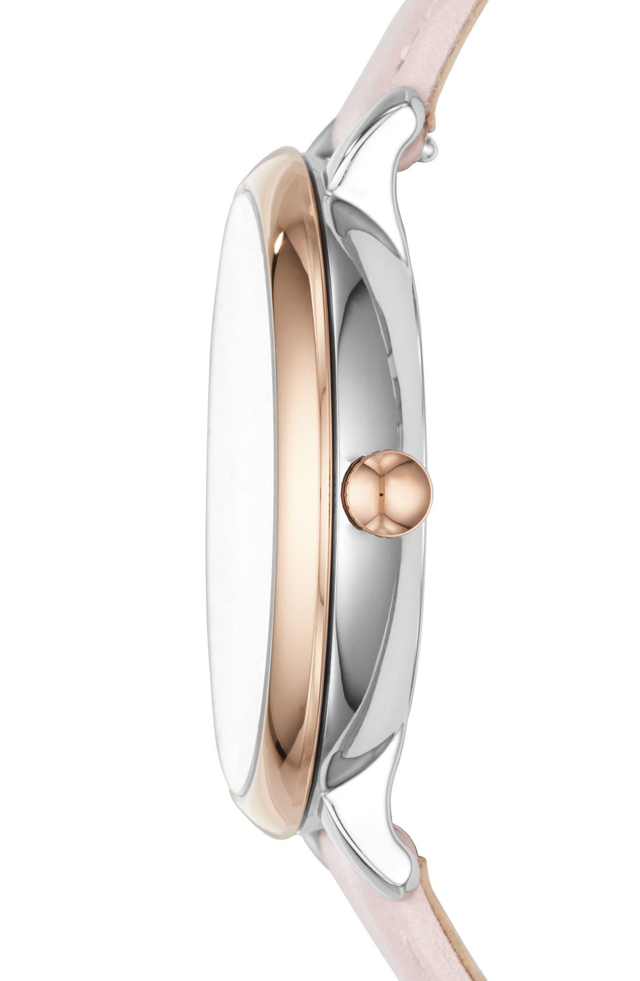 Jacqueline Leather Strap Watch & Bracelet Set, 36mm,                             Alternate thumbnail 2, color,                             Pink/ White/ Rose Gold