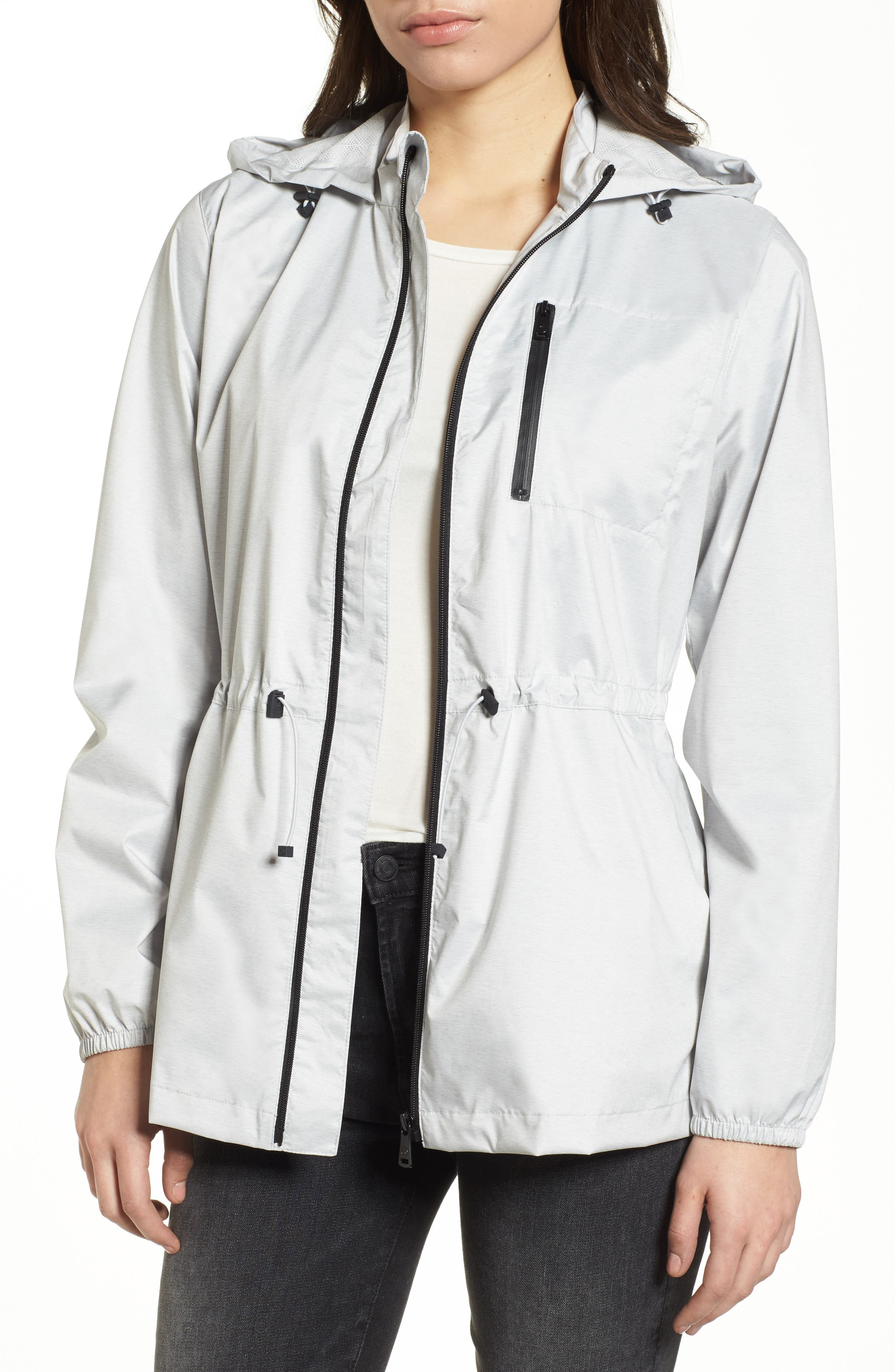 Microbreathable Hooded Water Resistant Jacket,                         Main,                         color, Light Heather