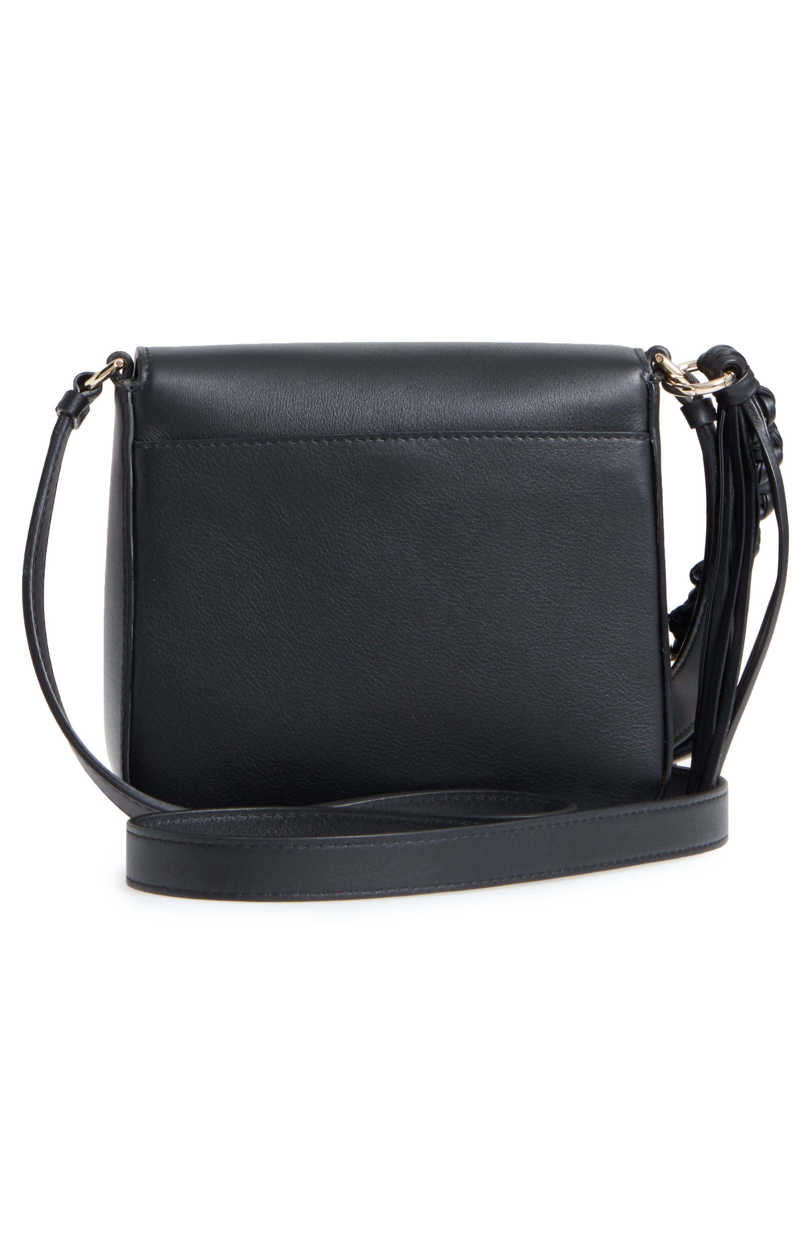 Gancio Lock Leather Crossbody Bag,                             Alternate thumbnail 3, color,                             Nero