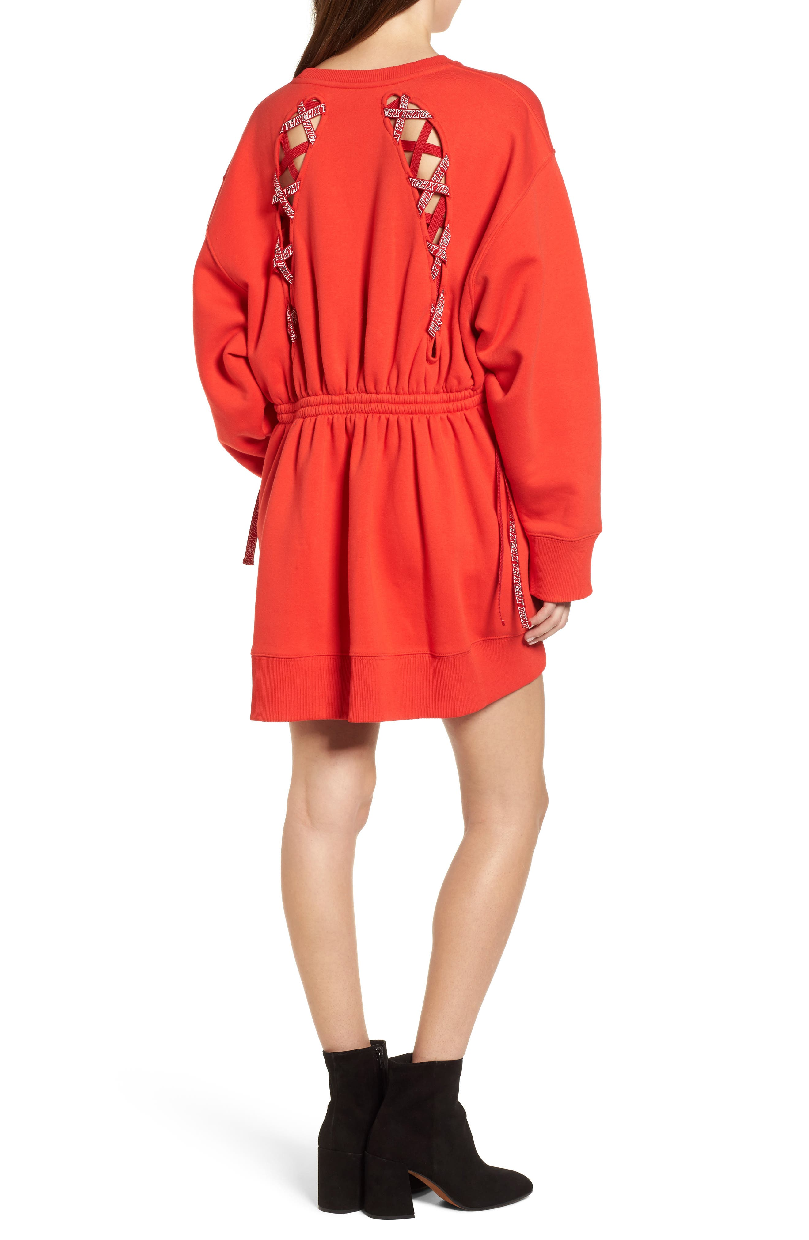 x Gigi Hadid Sweatshirt Dress,                             Alternate thumbnail 2, color,                             Flame Scarlet