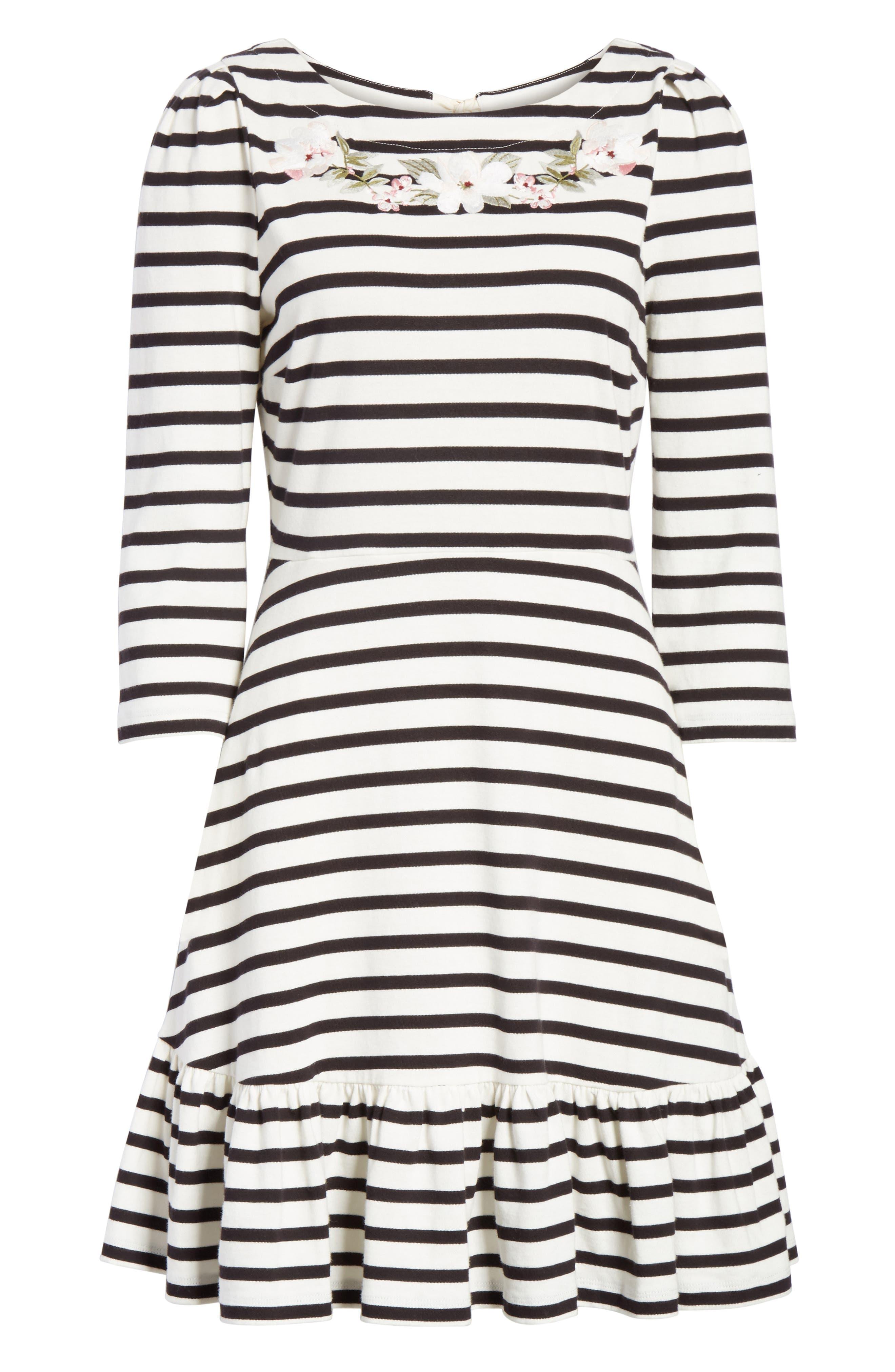 stripe fit & flare dress,                             Alternate thumbnail 6, color,                             Off-White/ Black